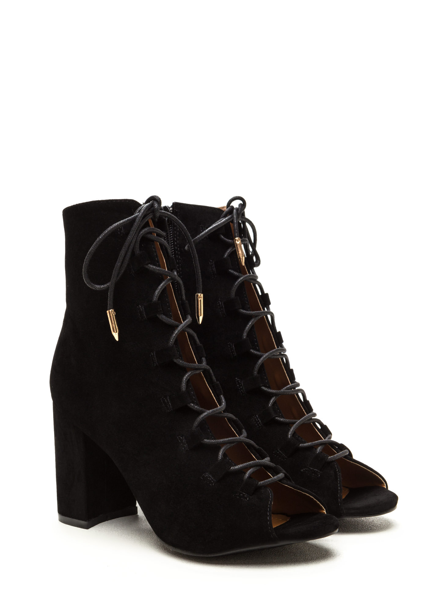 Daily Strut Lace-Up Chunky Booties BLACK