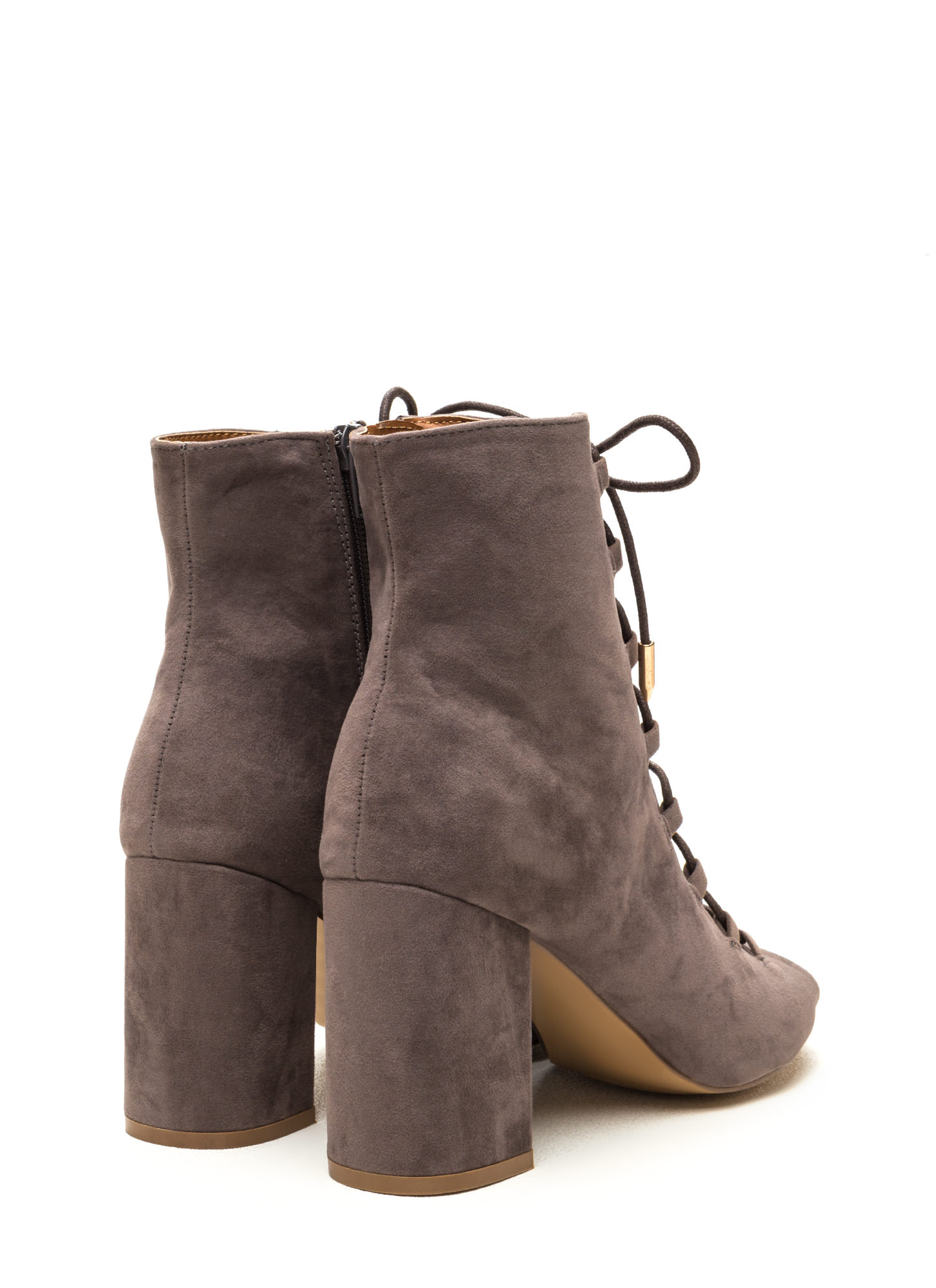 Daily Strut Lace-Up Chunky Booties GREY