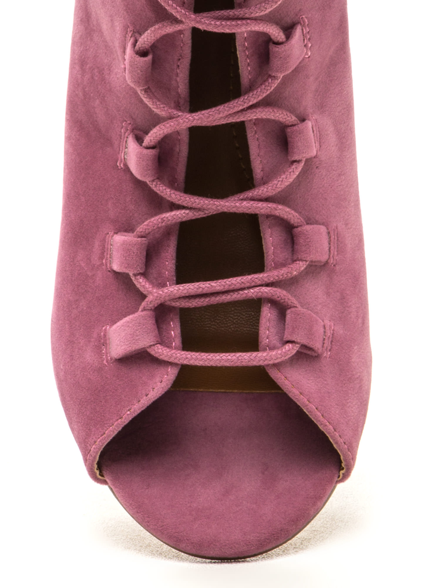 Daily Strut Lace-Up Chunky Booties MAUVE