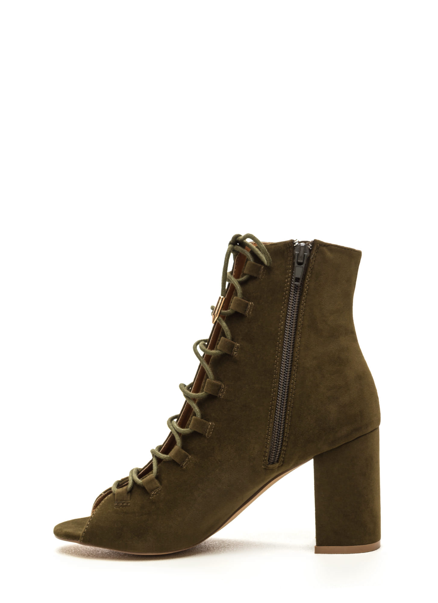 Daily Strut Lace-Up Chunky Booties OLIVE