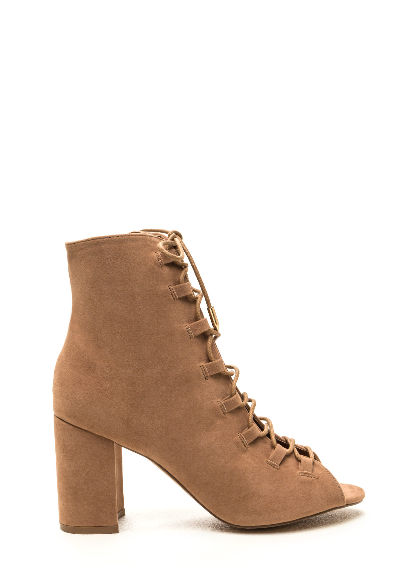 Daily Strut Lace-Up Chunky Booties TAUPE