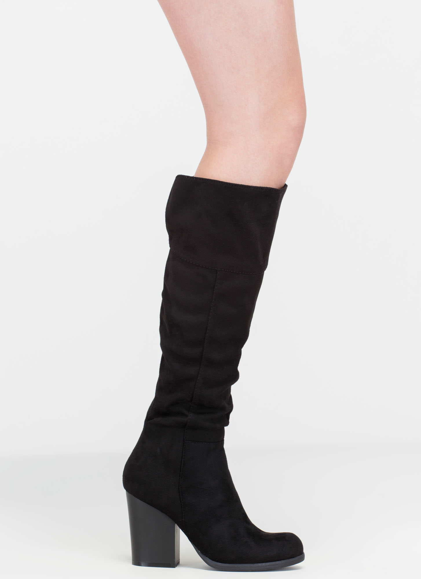 Warm Welcome Chunky Faux Suede Boots BLACK