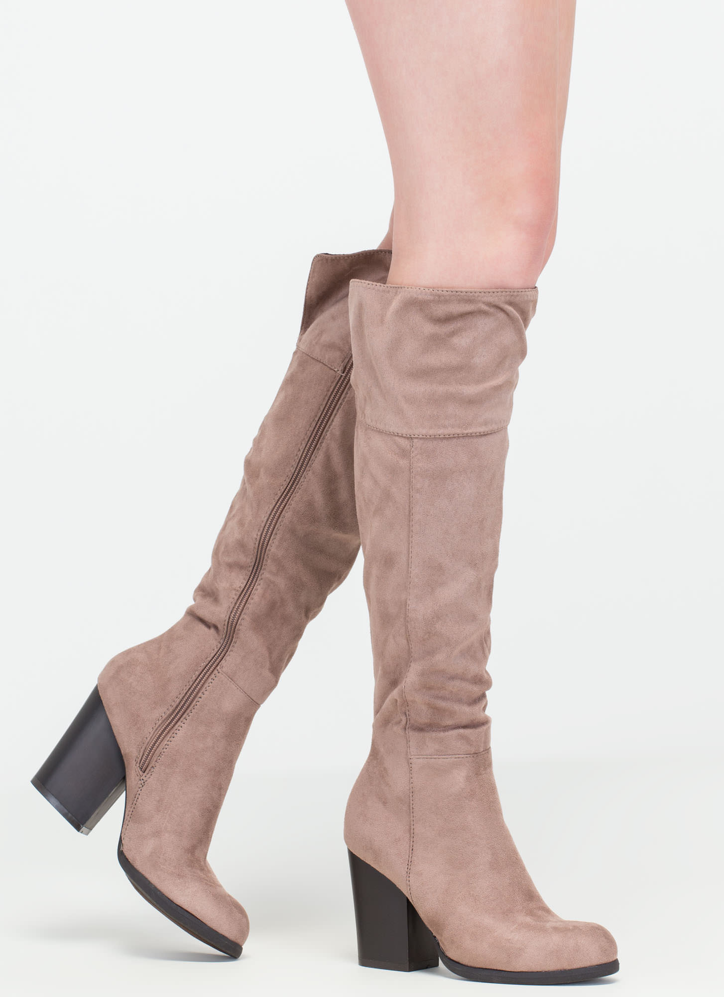 Warm Welcome Chunky Faux Suede Boots LTTAUPE