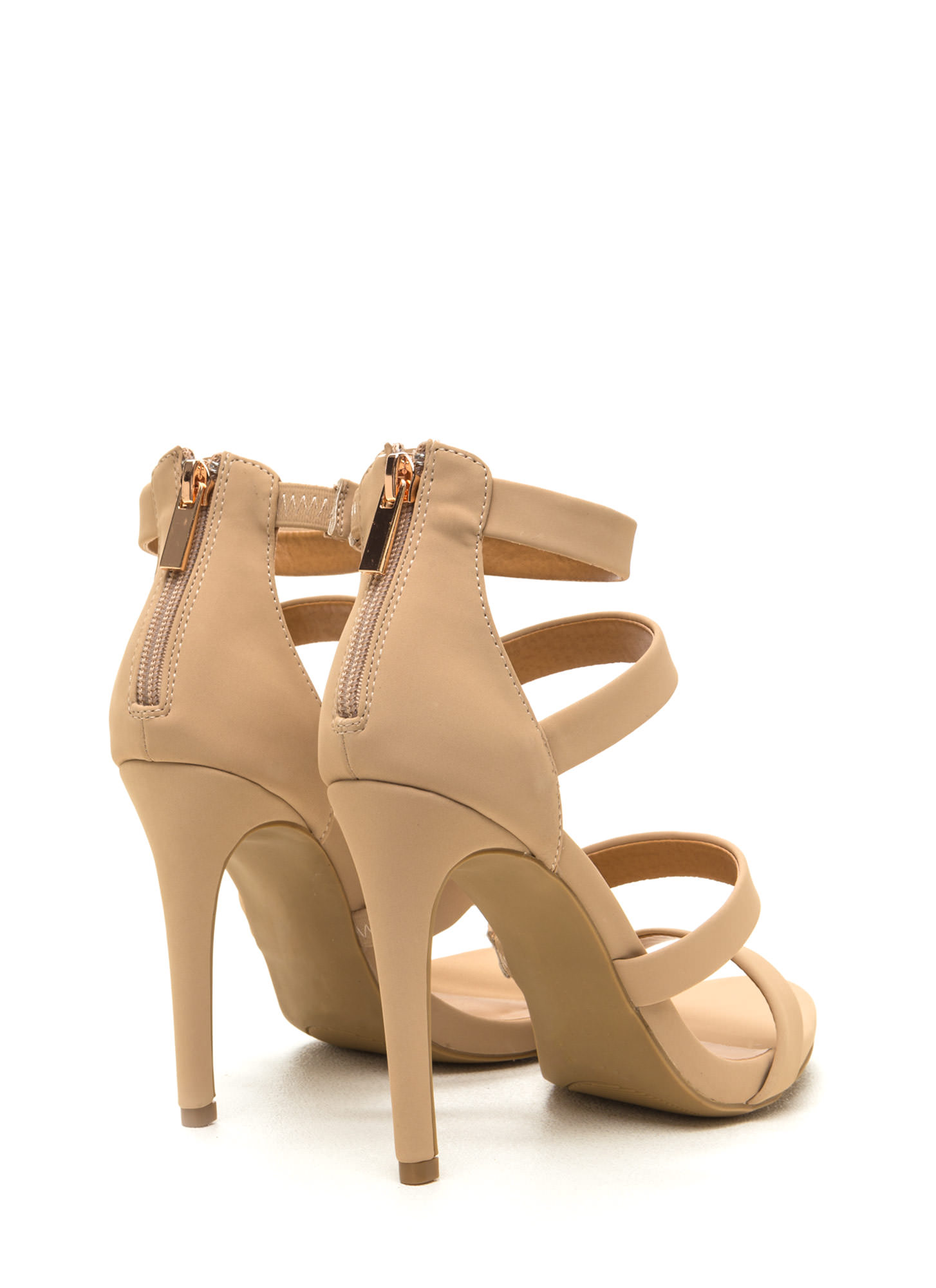 Level Up Faux Nubuck Strappy Heels NUDE