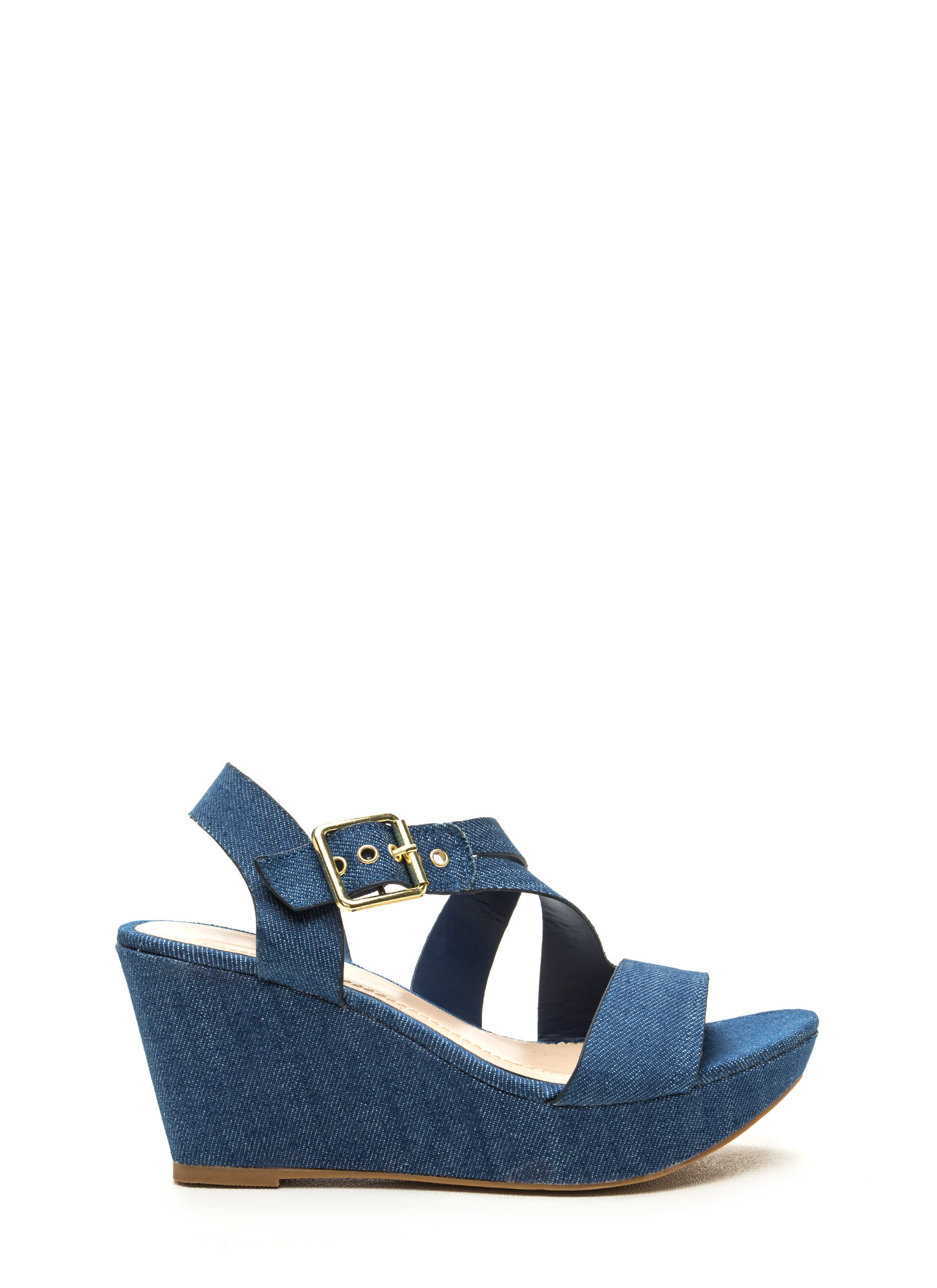 Wrap Request Strappy Denim Wedges Image