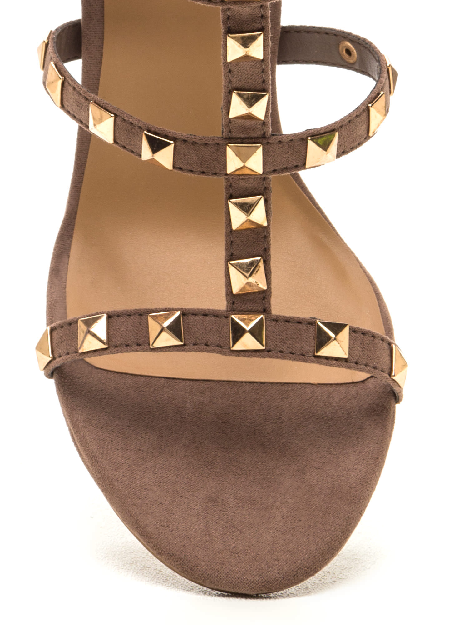 You Rock Studded T-Strap Heels LTTAUPE