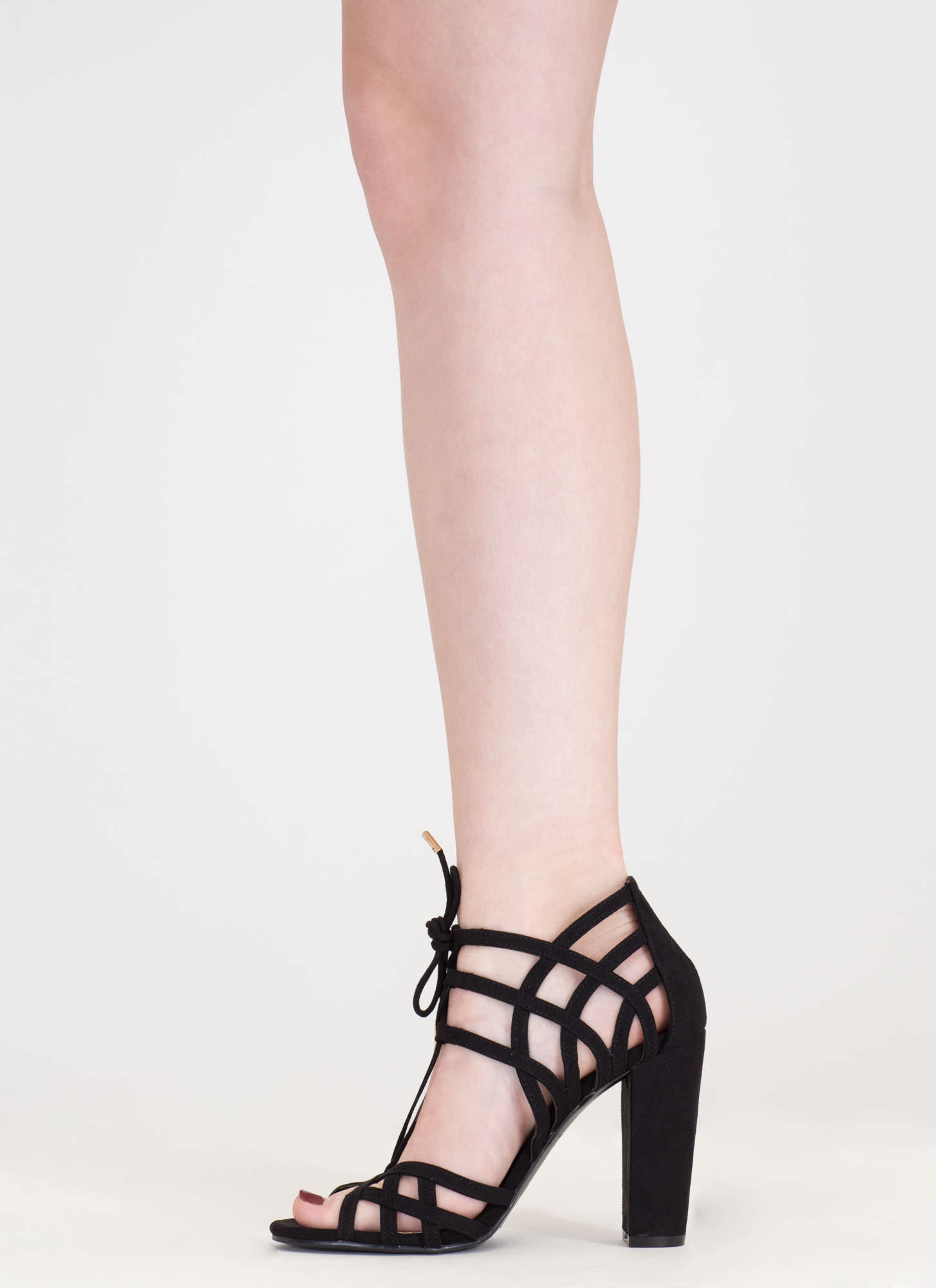 Web Design Chunky Lace-Up Heels BLACK