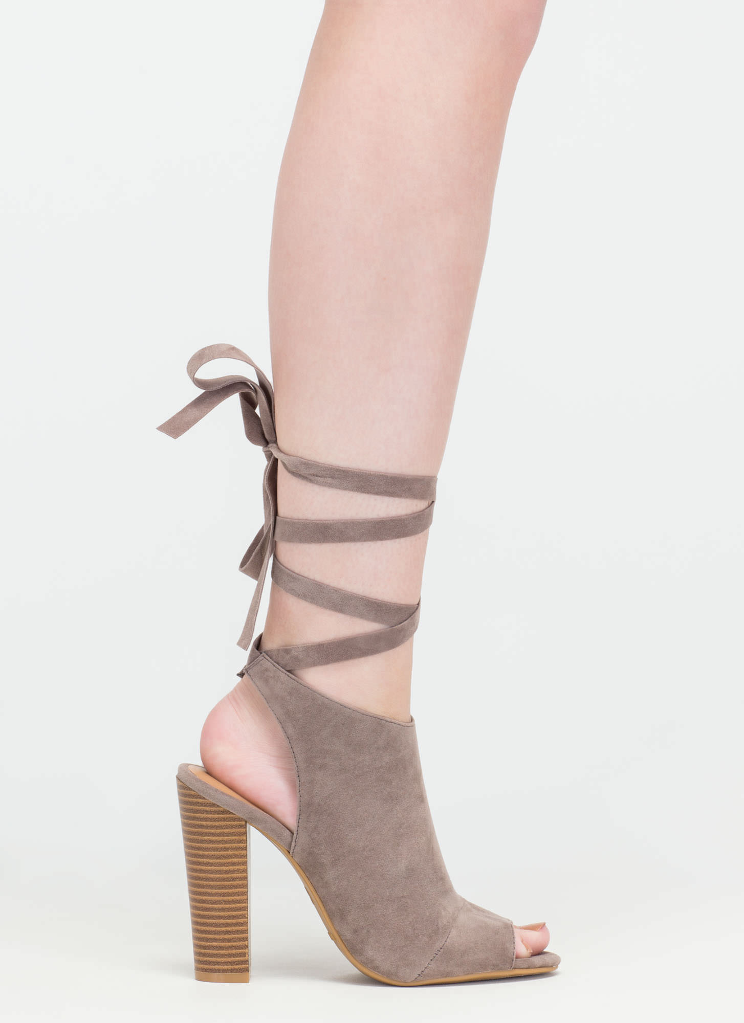 To Tie For Chunky Faux Suede Heels TAUPE