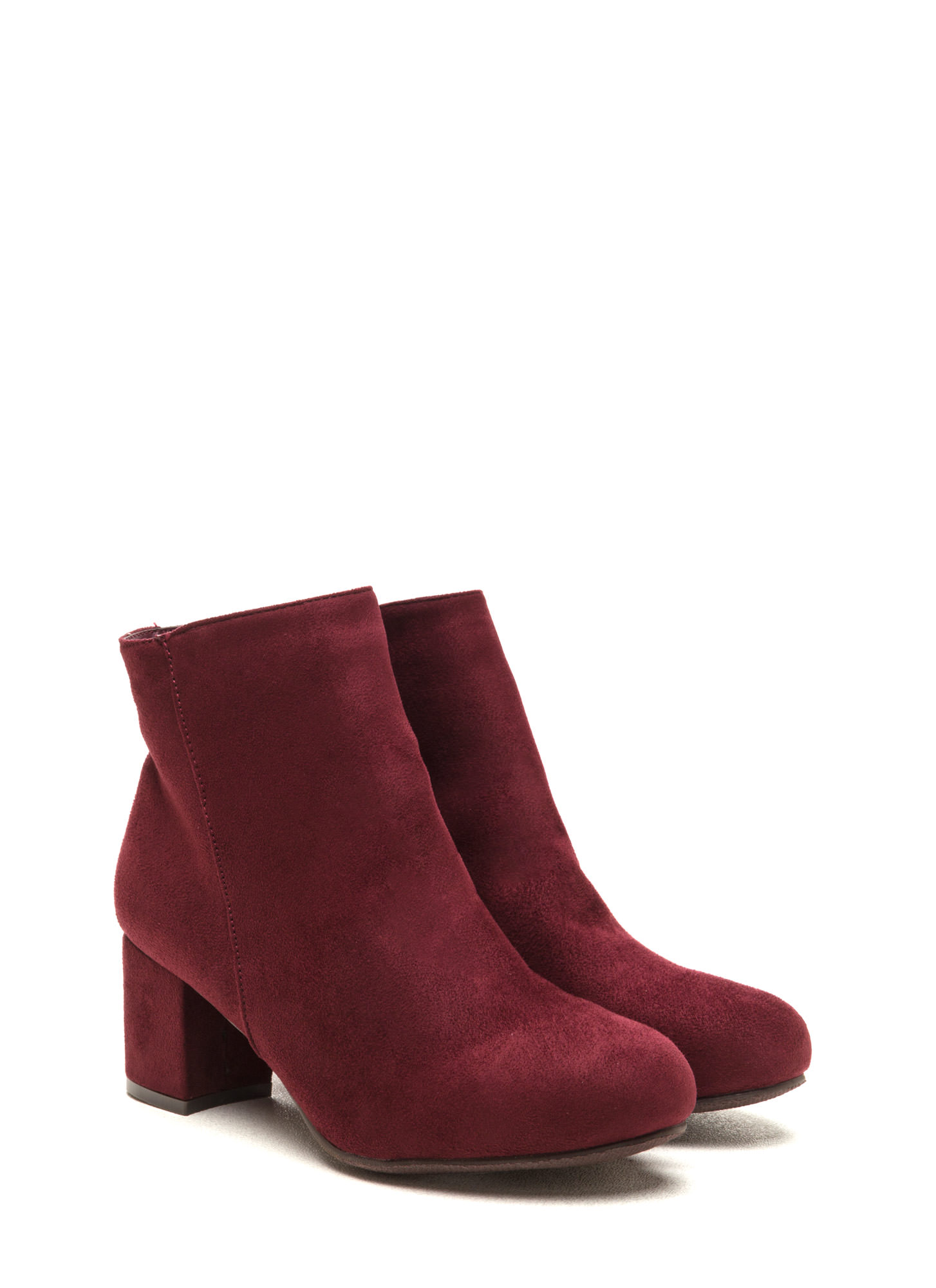 You're Blocked Chunky Faux Suede Booties BURGUNDY