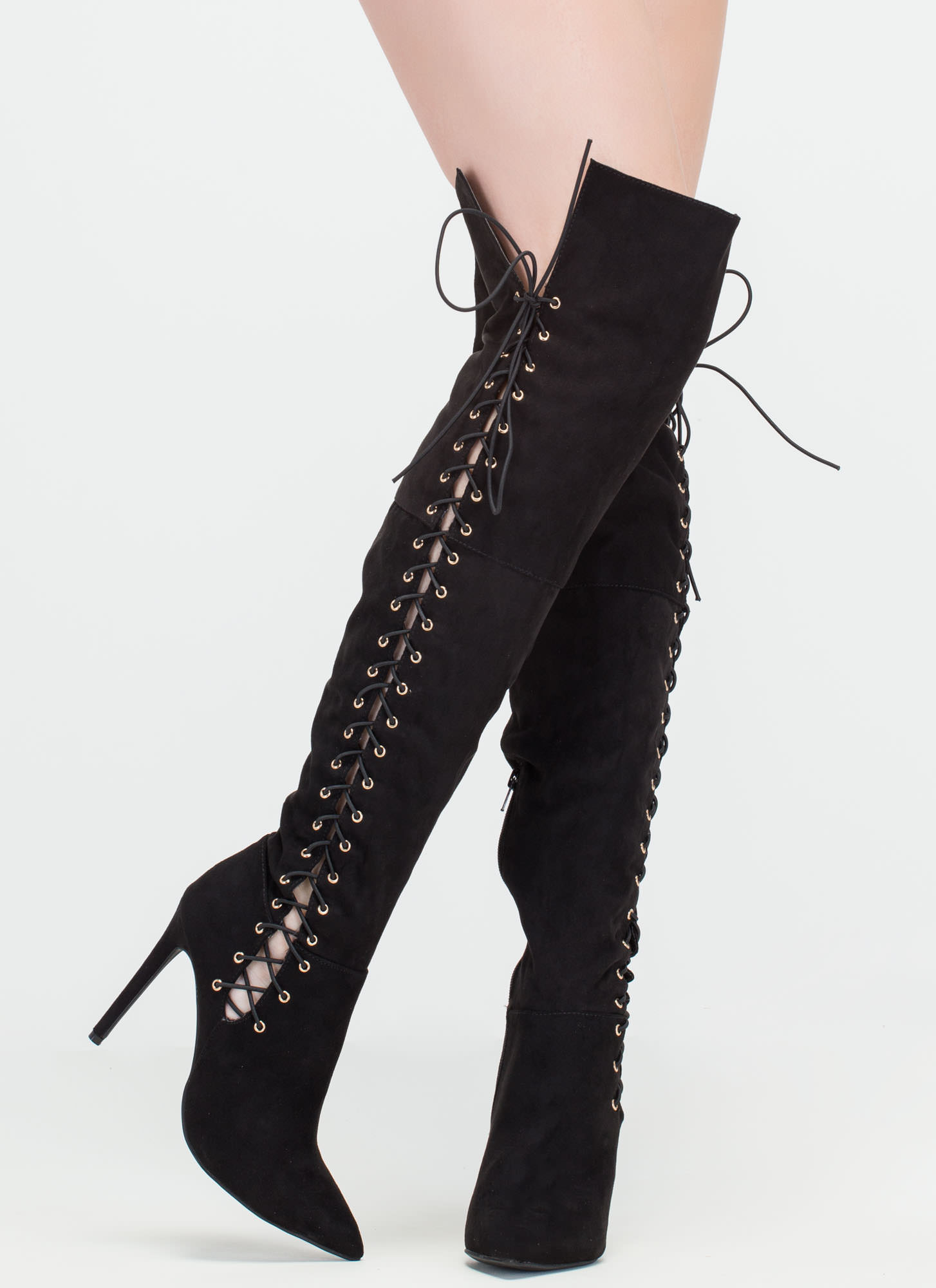 Sidekick Pointy Laced Thigh-High Boots BLACK