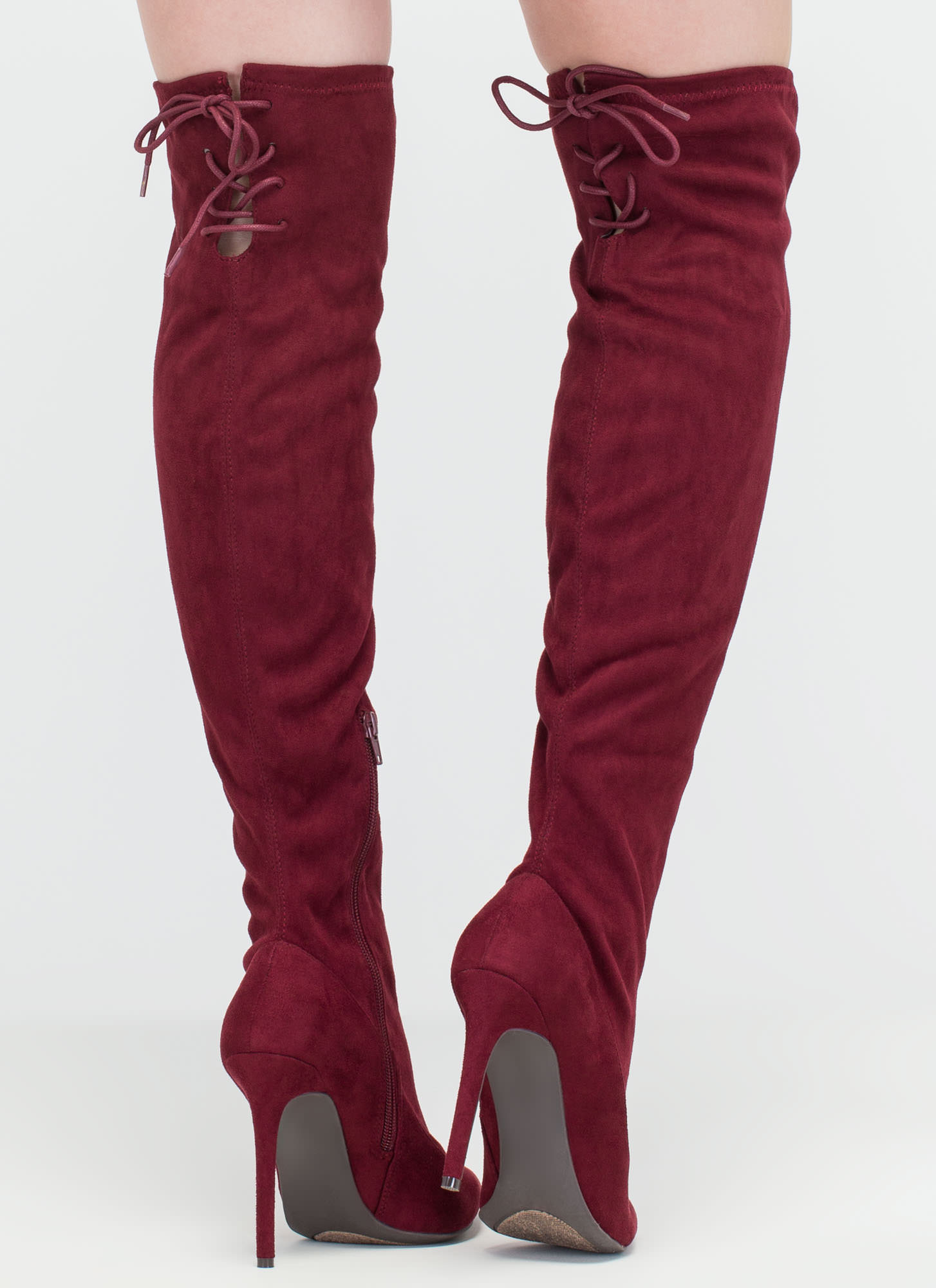 Pumped Faux Suede Thigh-High Boots BURGUNDY