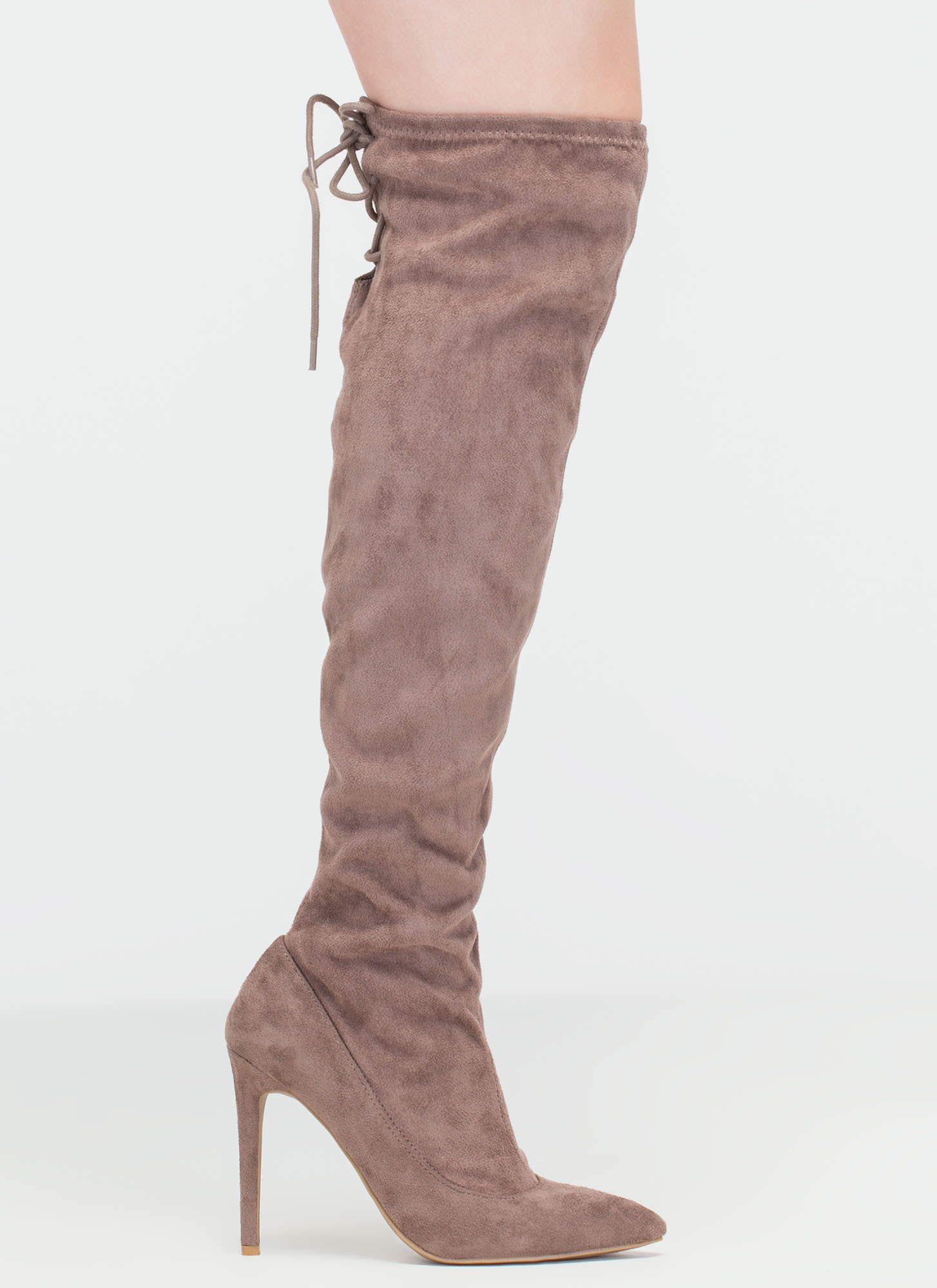 Pumped Faux Suede Thigh-High Boots LTTAUPE