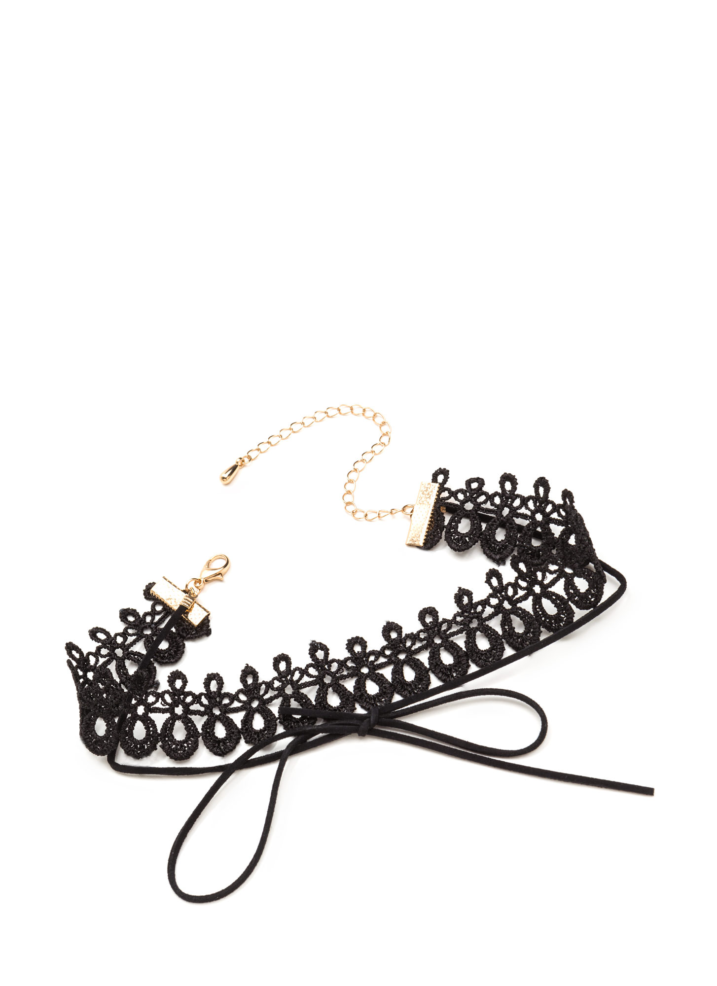 All About It Tied Cord 'N Crochet Choker BLACK