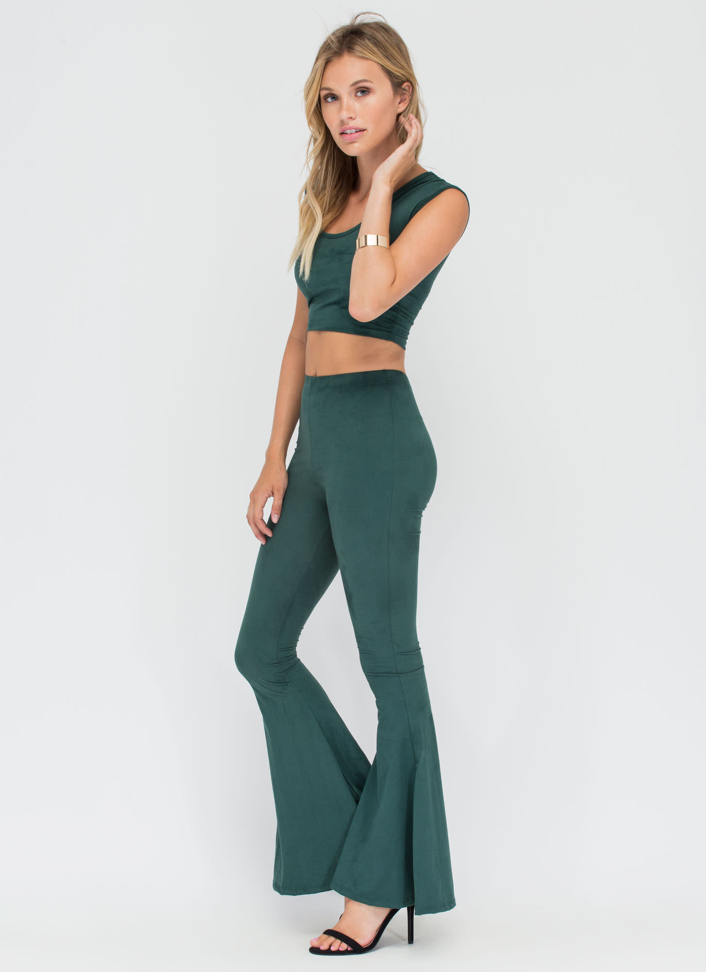 70s Inspo Faux Suede Top 'N Bottom Set HGREEN