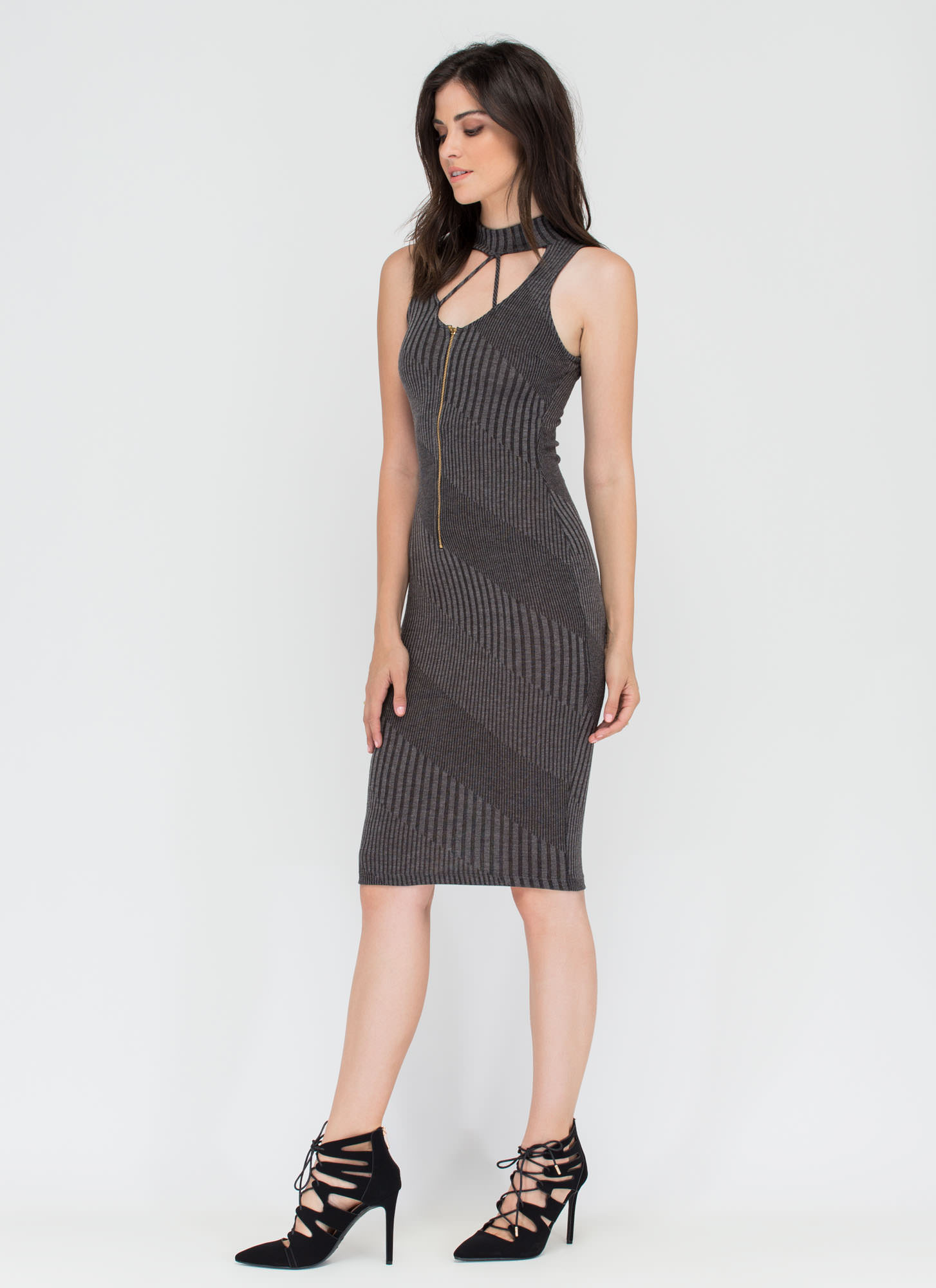 Between The Lines Rib Knit Midi Dress CHARCOAL