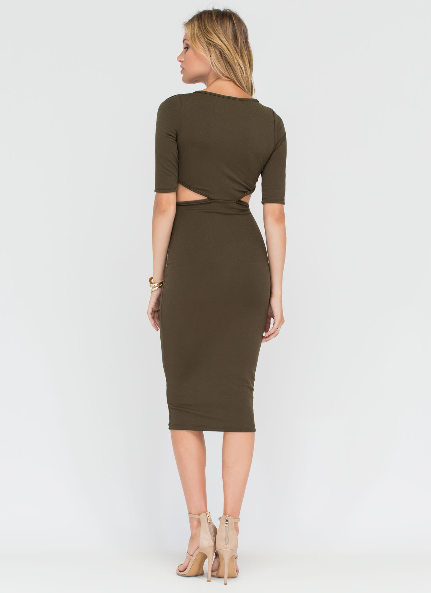 Contemporary Chic Cut-Out Midi Dress OLIVE