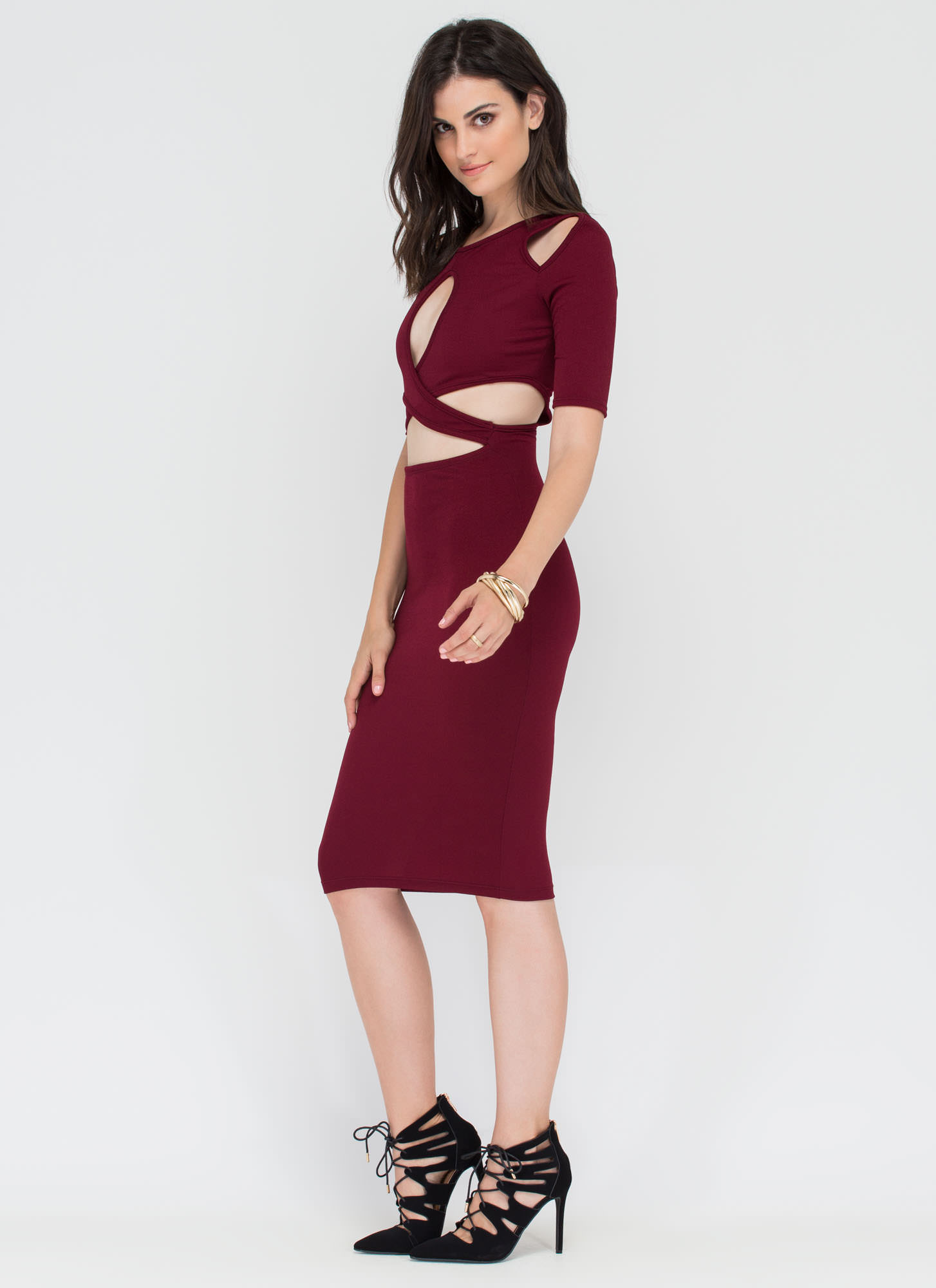 Contemporary Chic Cut-Out Midi Dress WINE