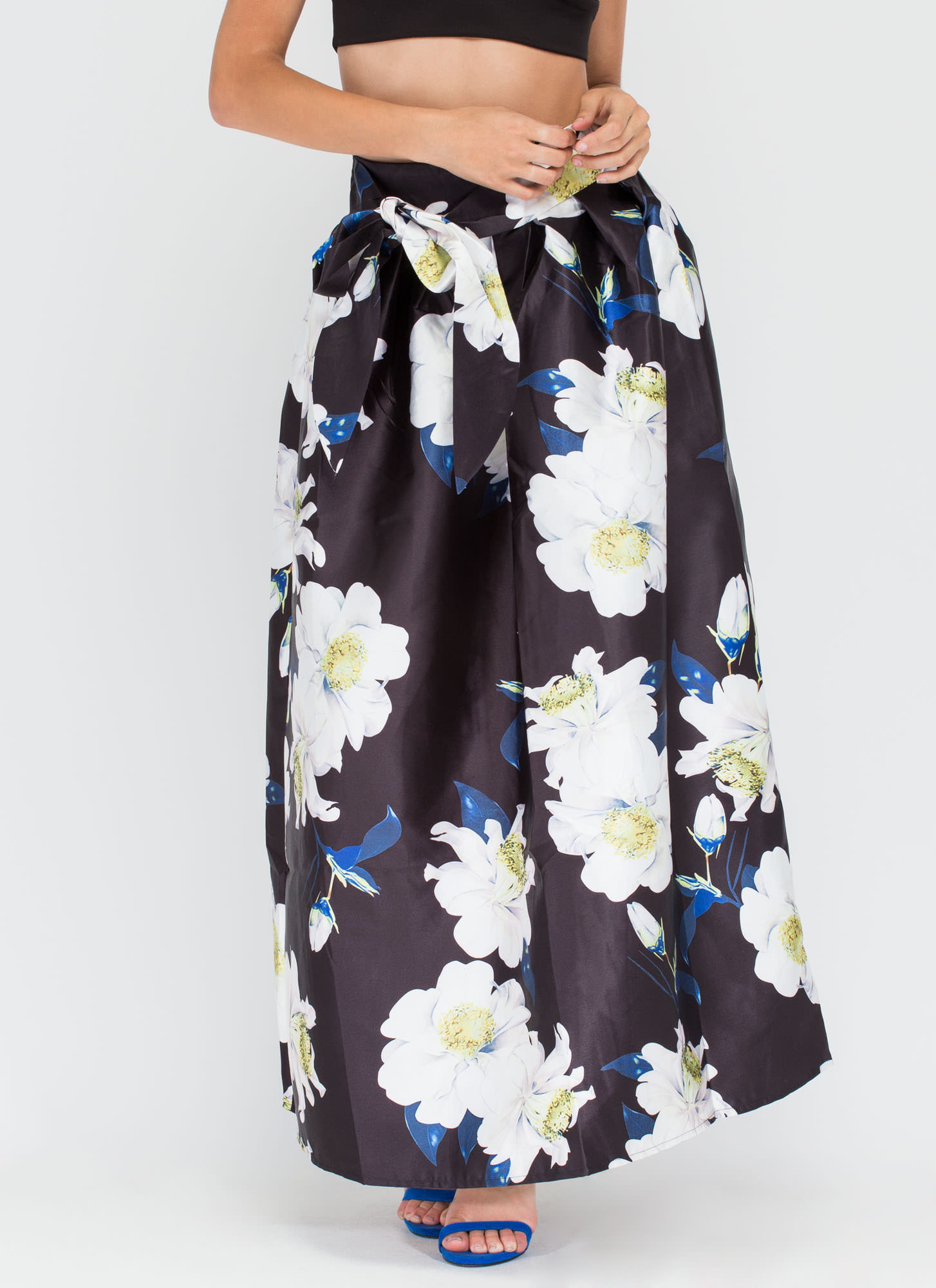 My Flare Lady Floral Maxi Skirt BLACK