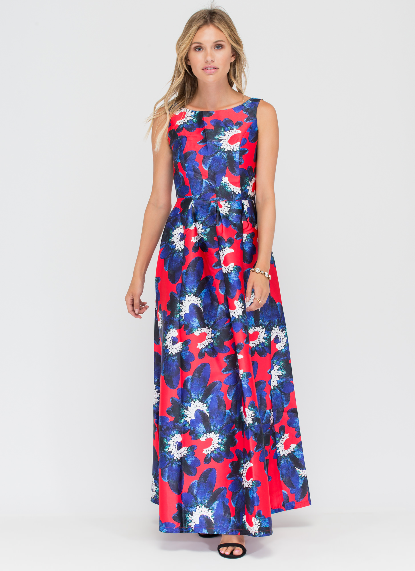 Grow With It Floral Flared Maxi Dress RED