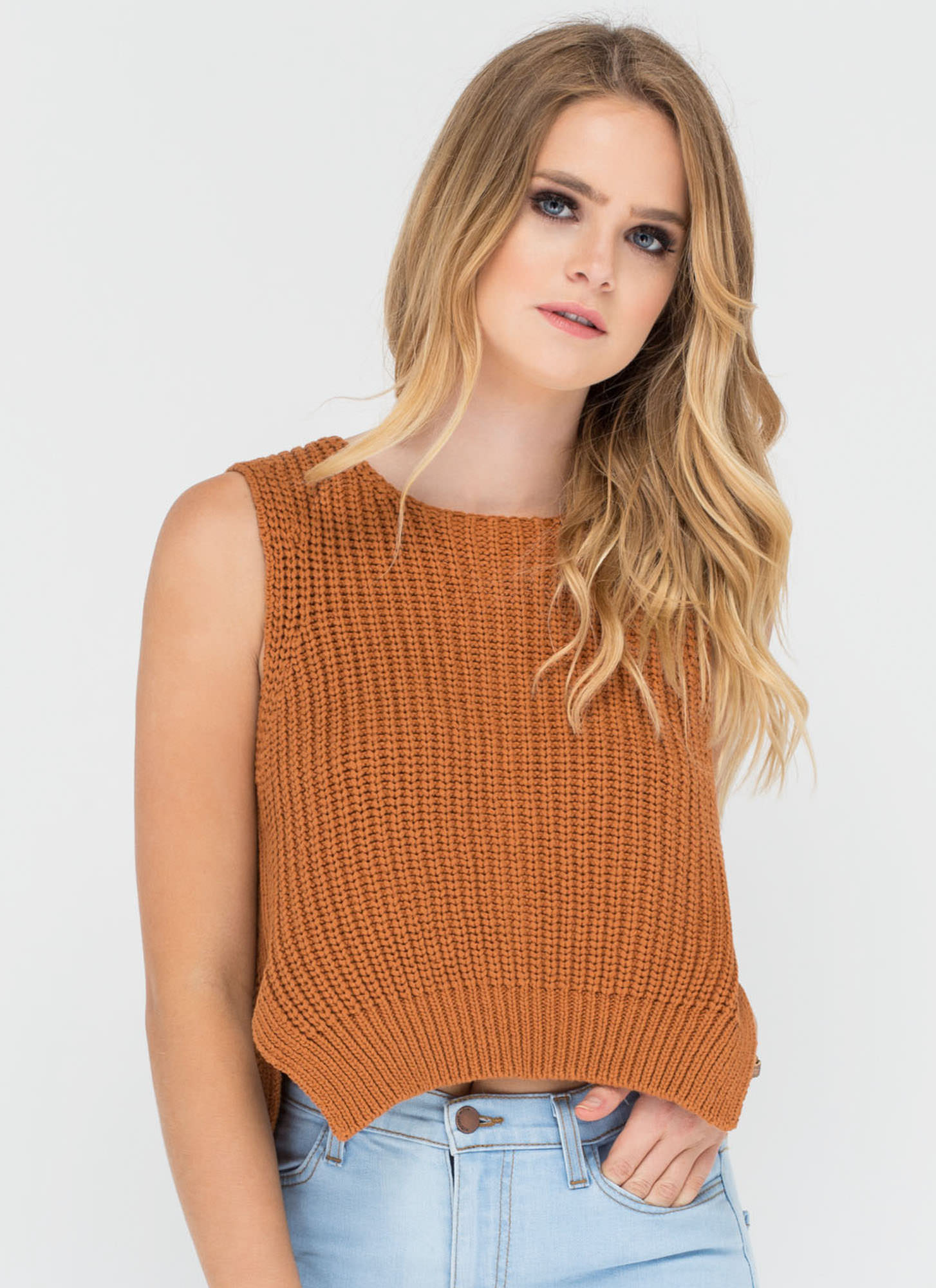 Best Of The Vest Ribbed Sweater Top CAMEL