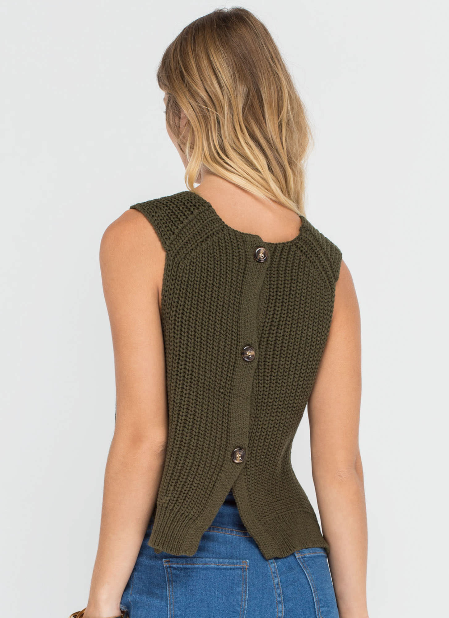 Best Of The Vest Ribbed Sweater Top OLIVE
