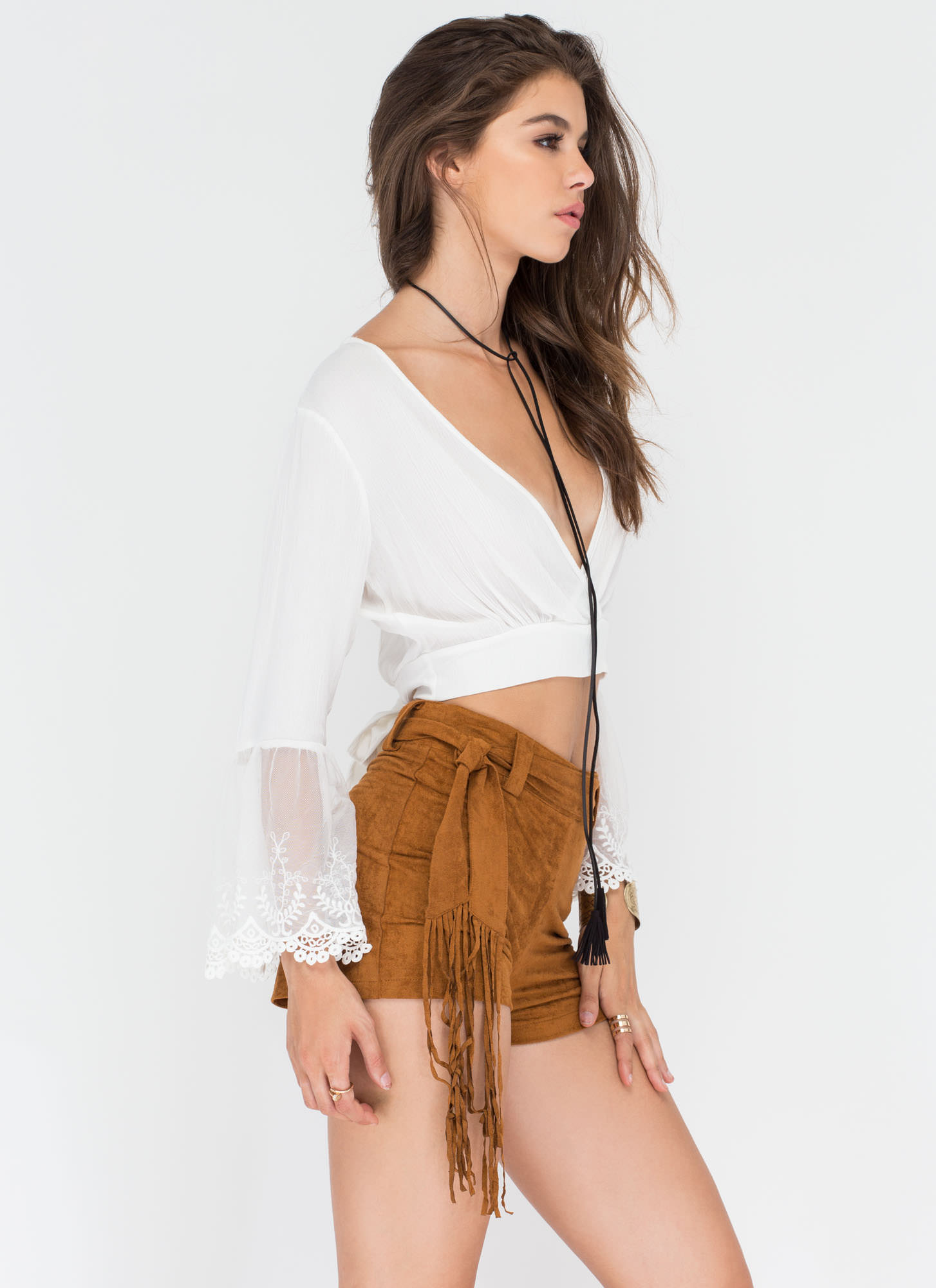 Foxy Fringe Faux Suede Shorts CAMEL