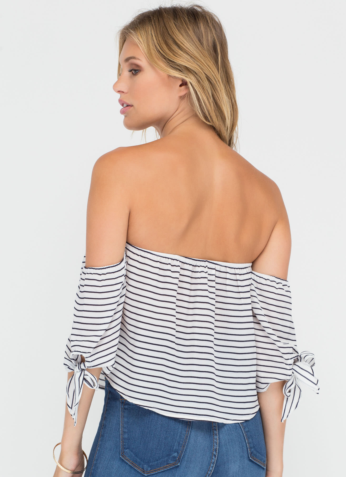 Nautical Line Striped Off-Shoulder Top WHITE