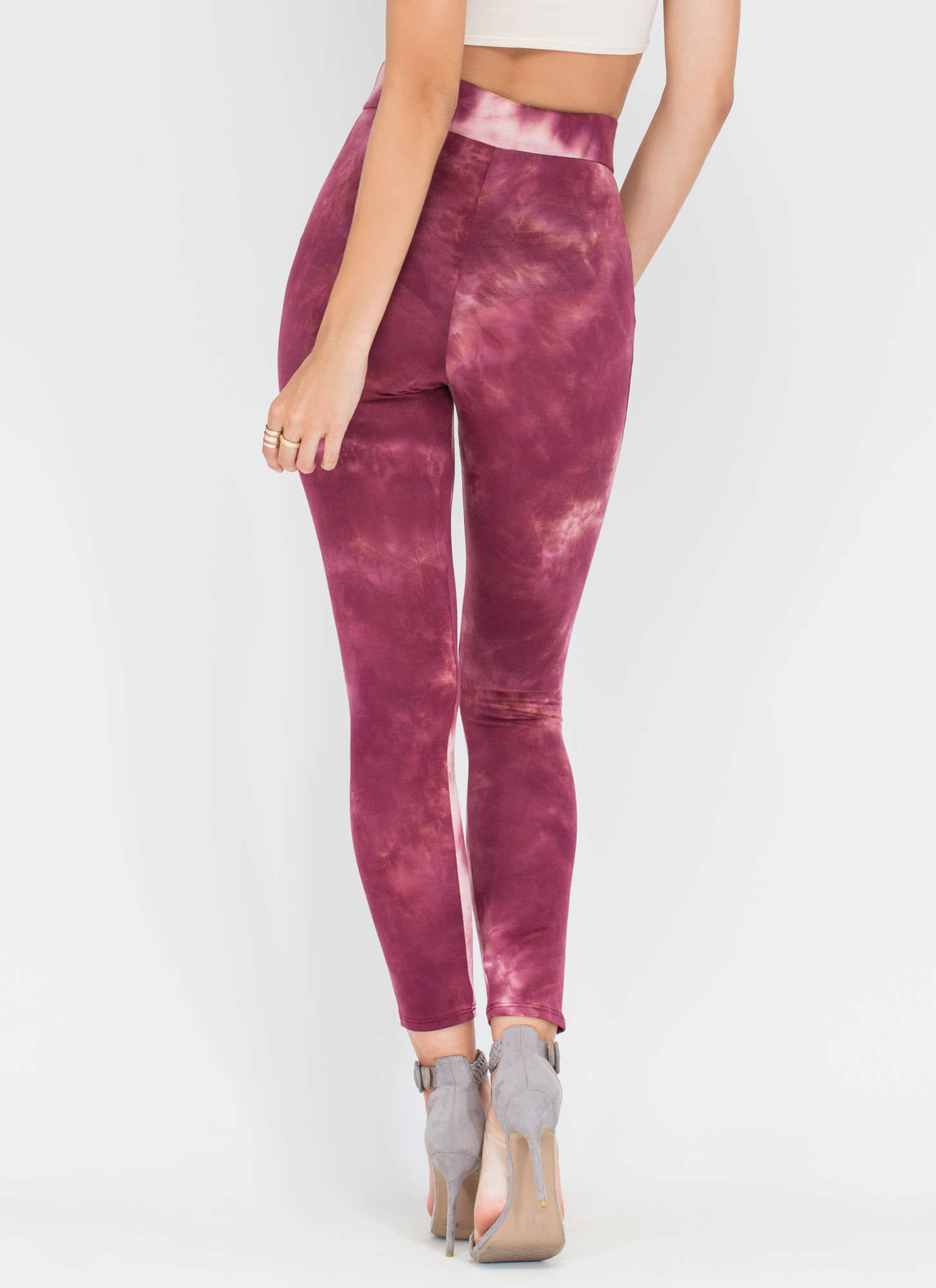 Dye Hard Fan Printed Leggings WINE