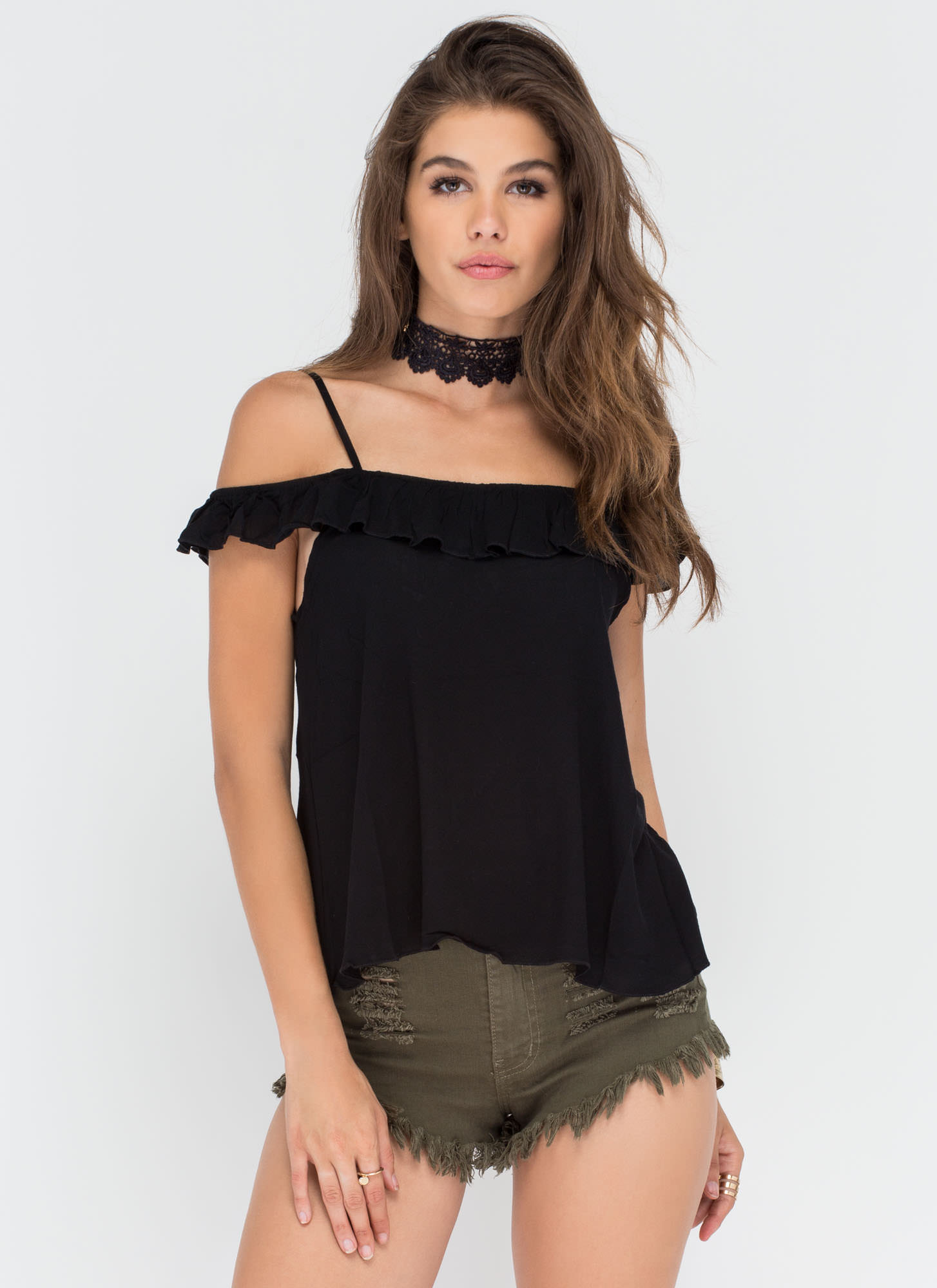 Frill Power Ruffled Flared Top BLACK