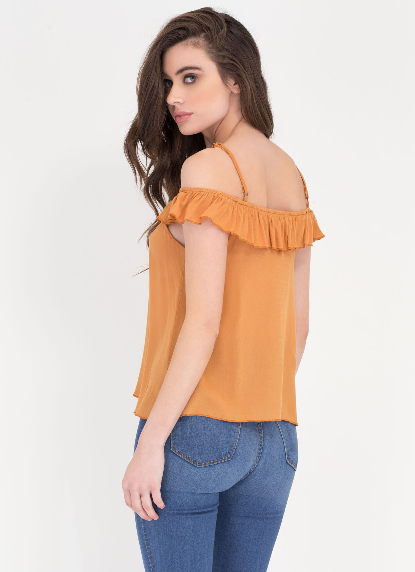 Frill Power Ruffled Flared Top CAMEL