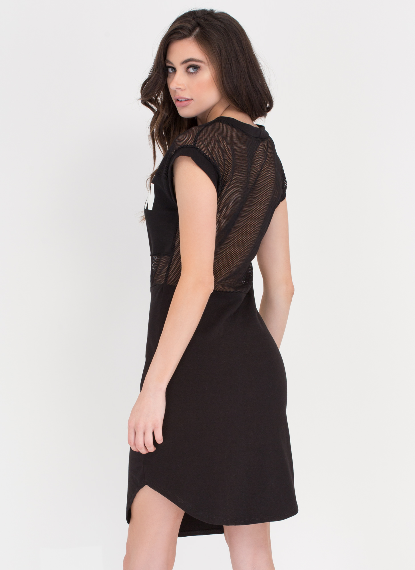 You Lit Up My Life Netted T-Shirt Dress BLACK