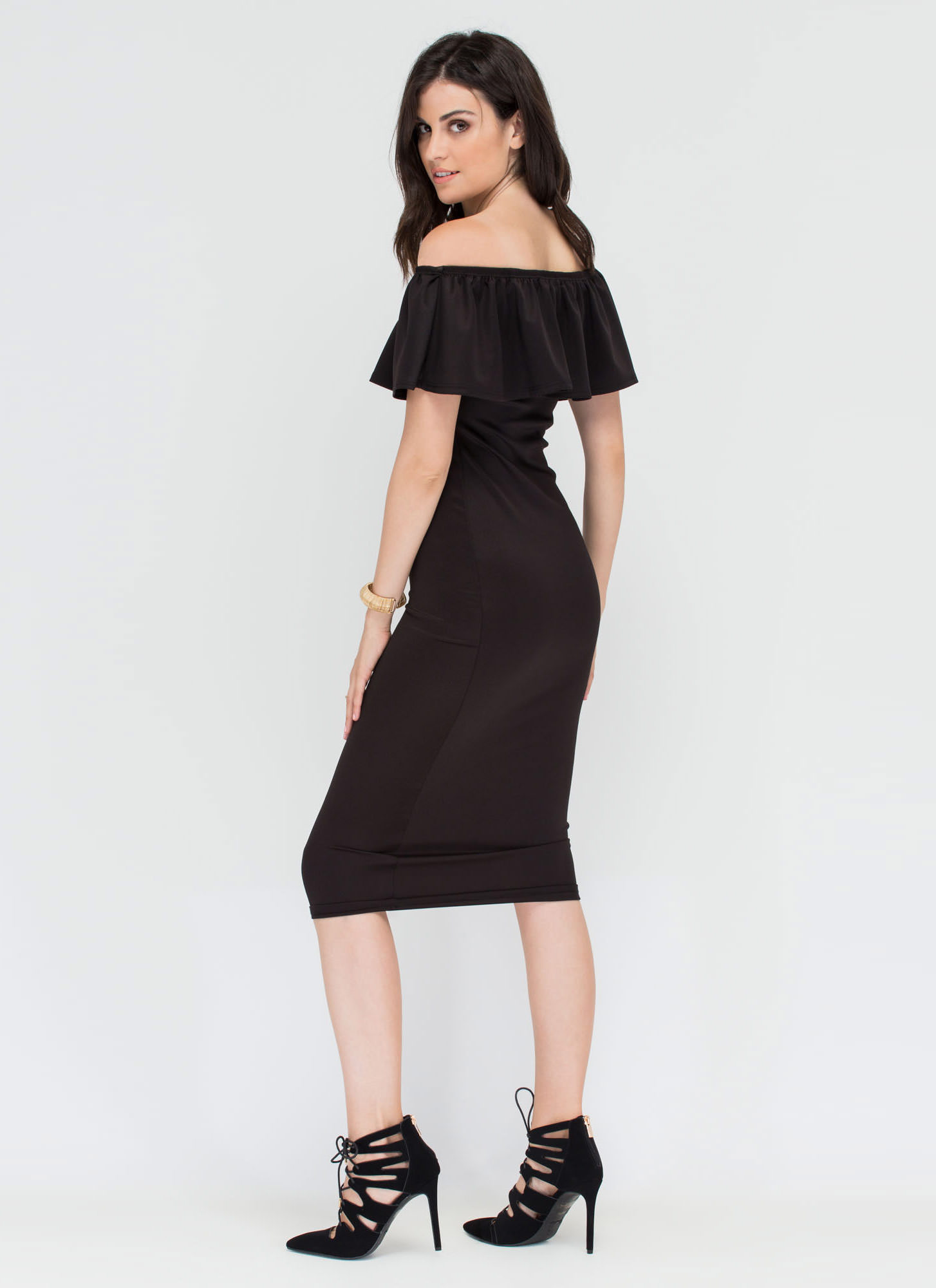 Lover's Lane Ruffled Off-Shoulder Dress BLACK