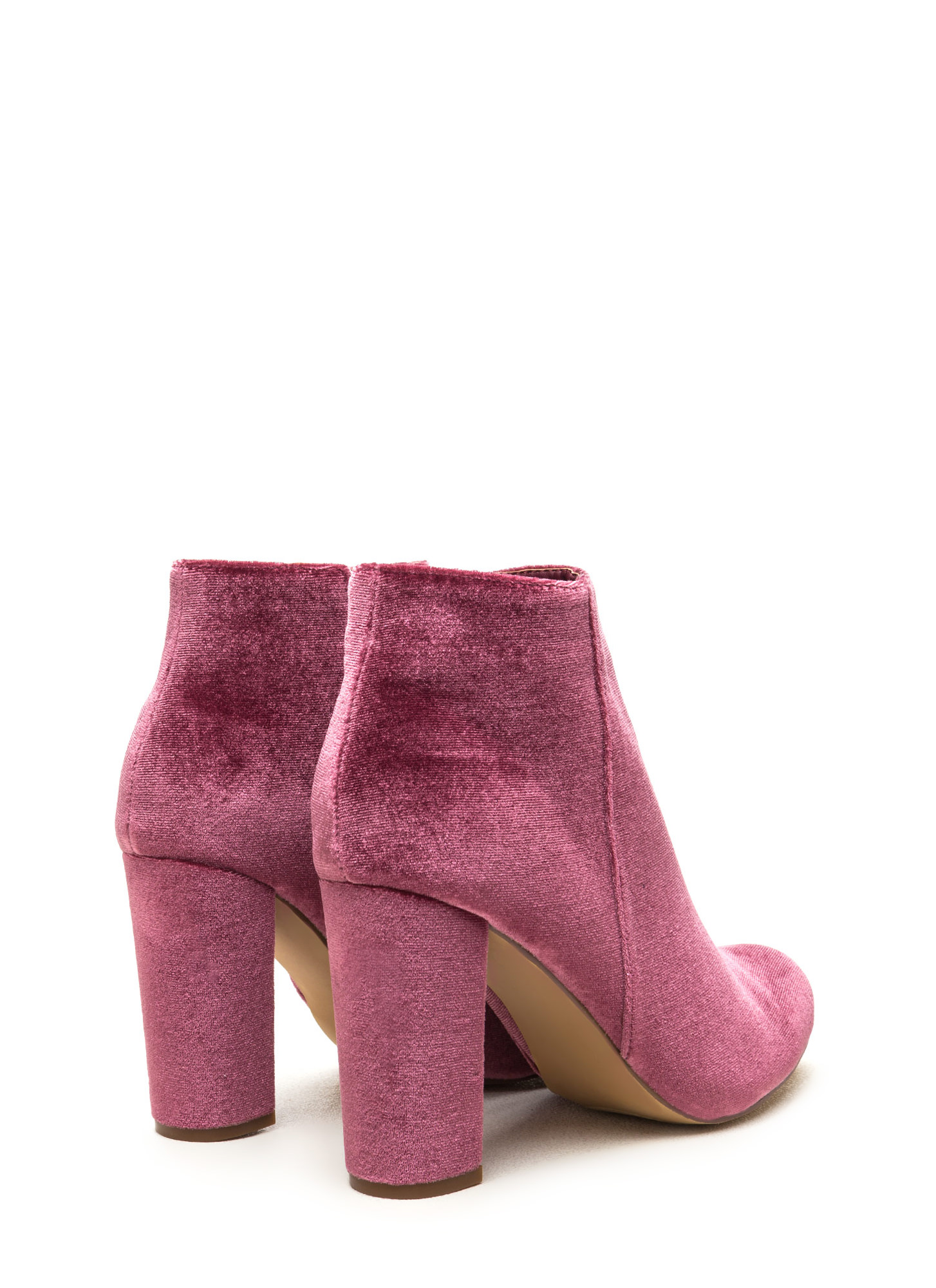 Set The Stage Chunky Velvet Booties MAUVE