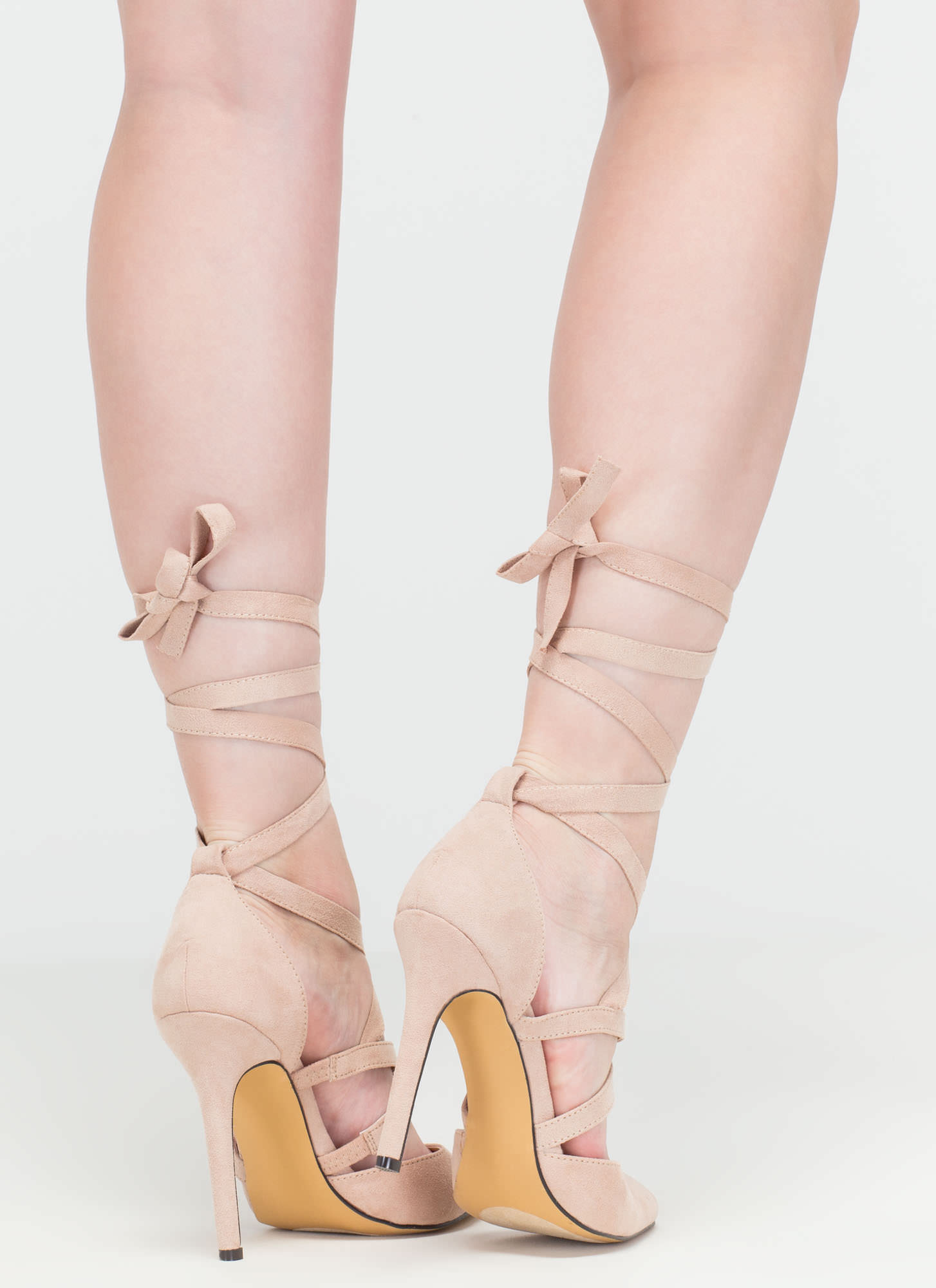 Center Stage Pointy Strappy Tie-Up Heels NUDE