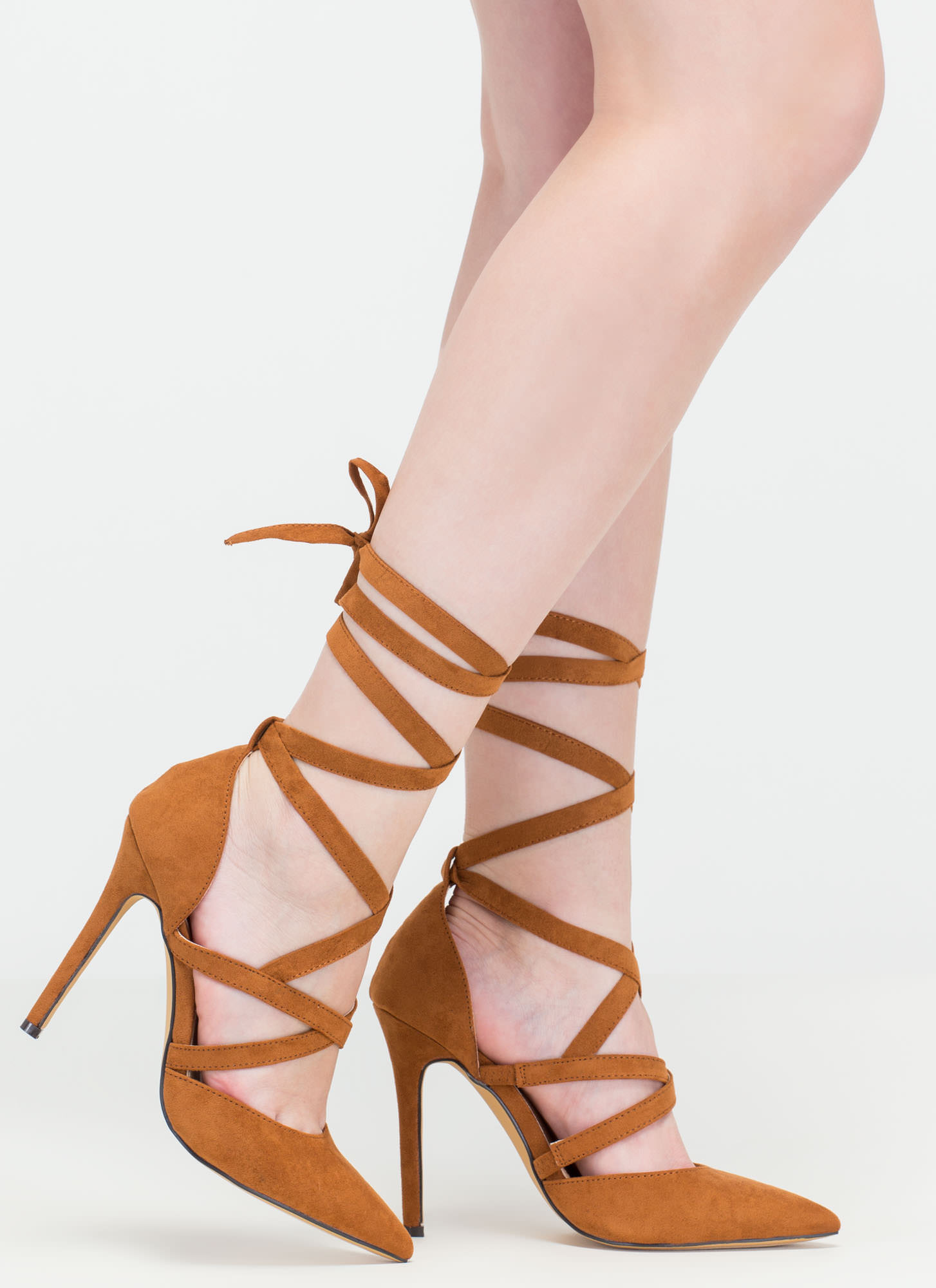 Center Stage Pointy Strappy Tie-Up Heels TAN