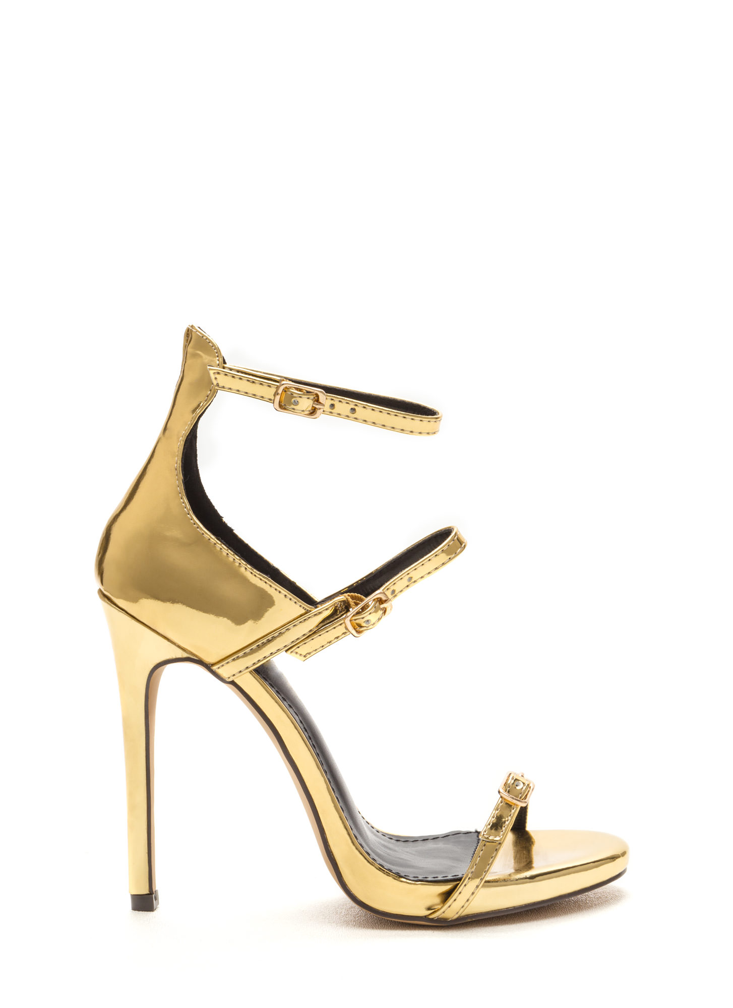 Luxurious Touch Strappy Metallic Heels GOLD
