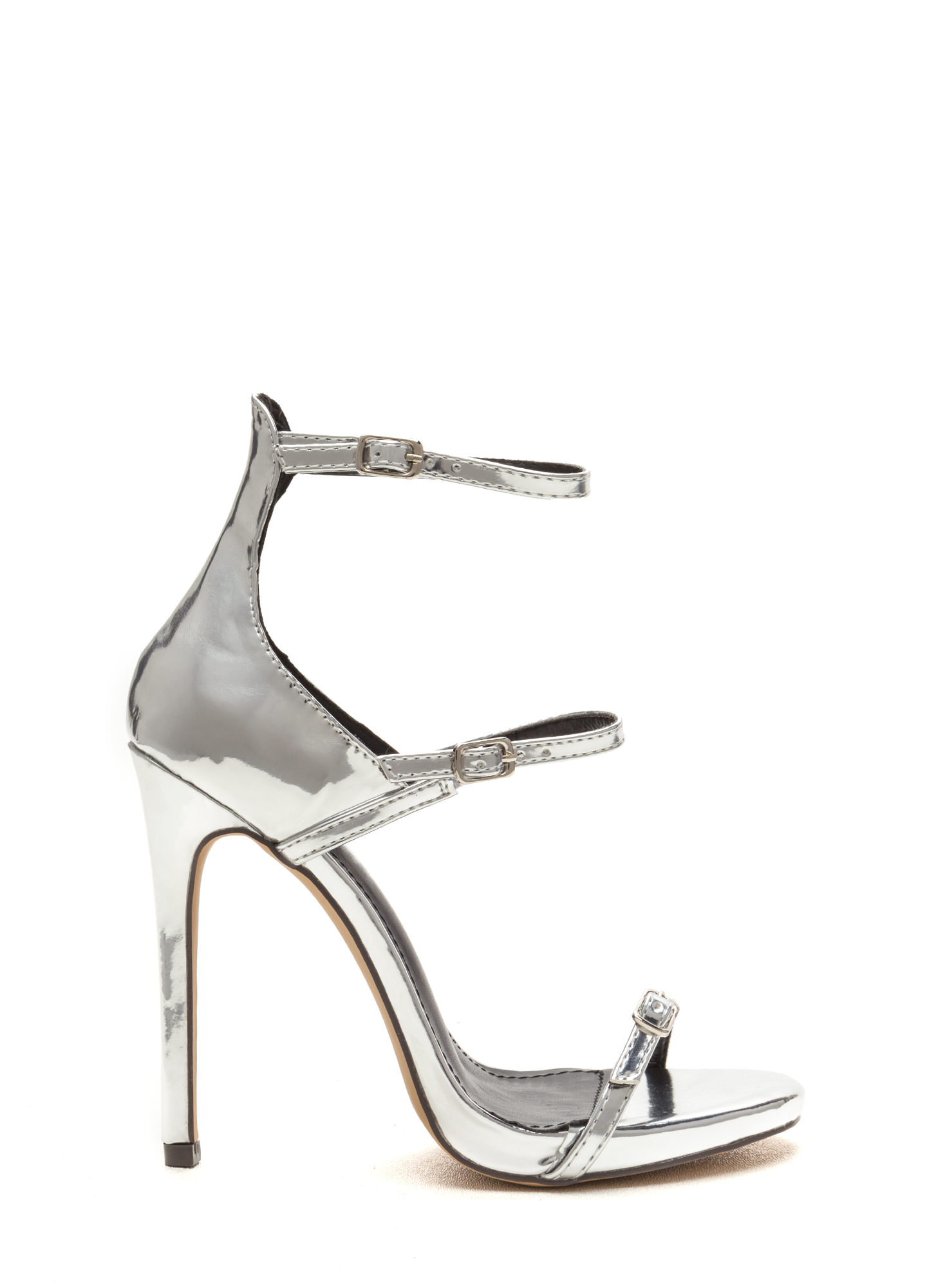 Luxurious Touch Strappy Metallic Heels SILVER