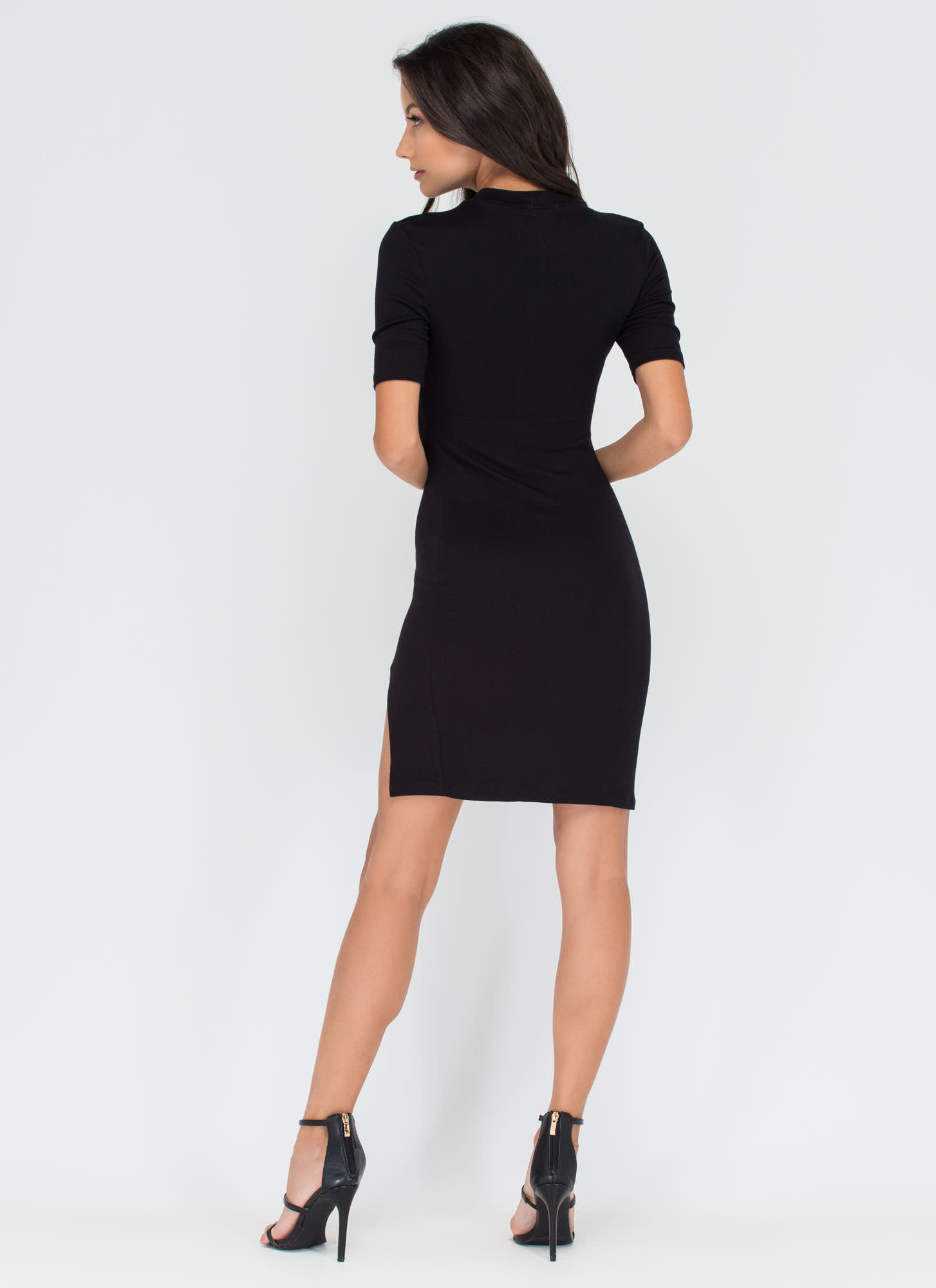 Mod About It Ribbed Midi Dress BLACK