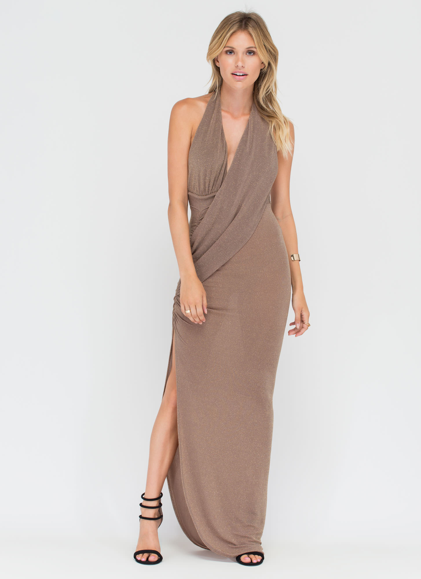 In The Limelight Draped Halter Maxi MOCHA