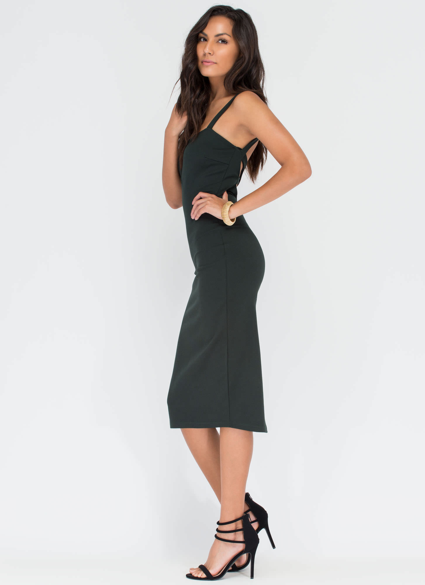 All Eyes On You Bodycon Midi Dress HGREEN
