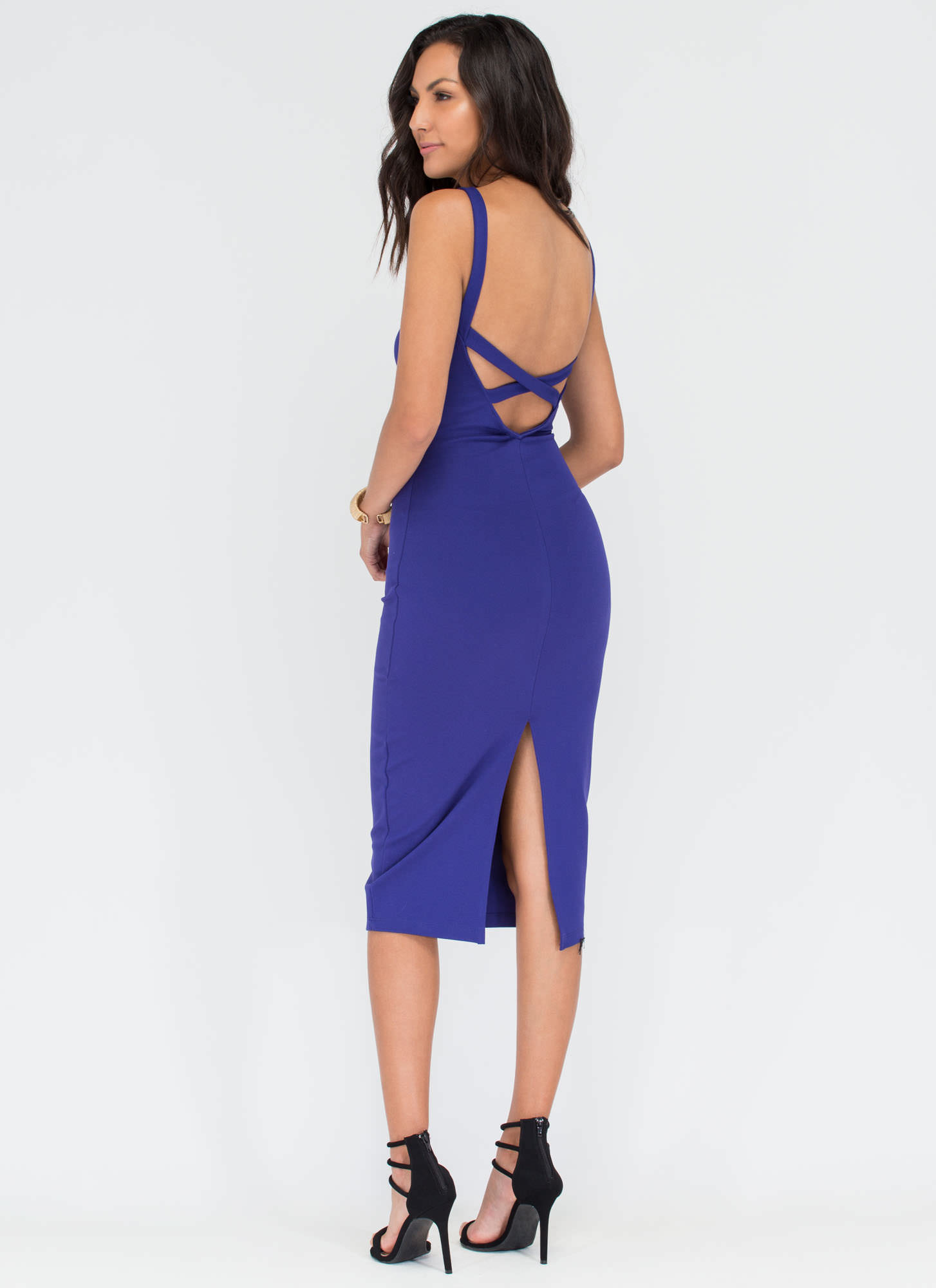 All Eyes On You Bodycon Midi Dress ROYAL