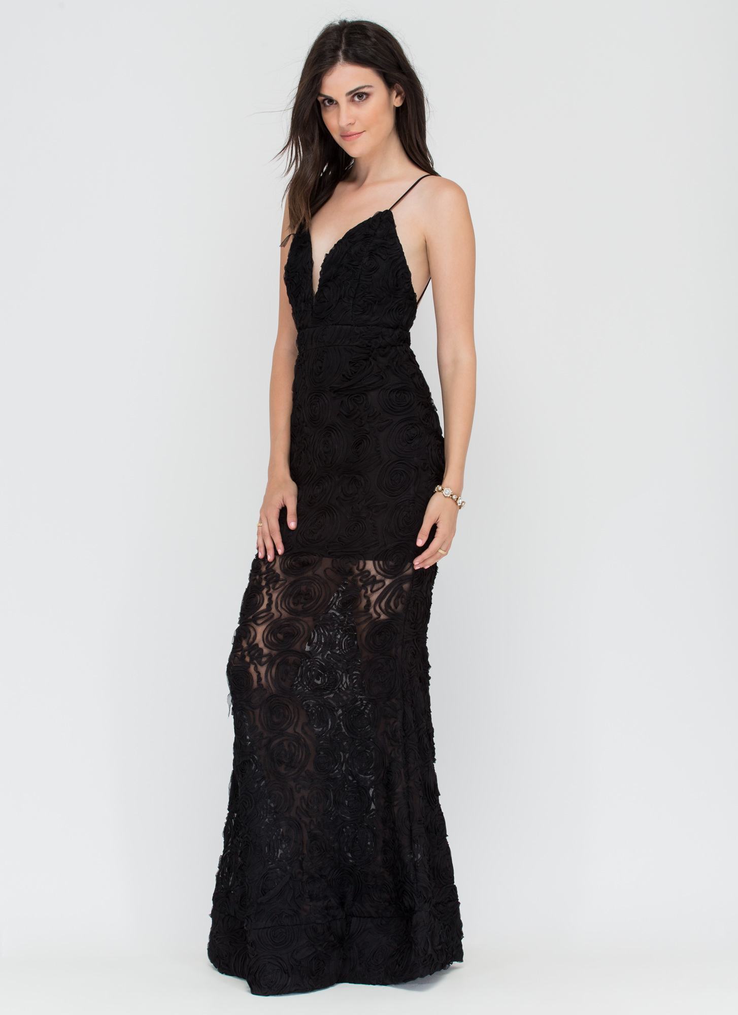 Coming Up Rosettes Maxi Dress BLACK