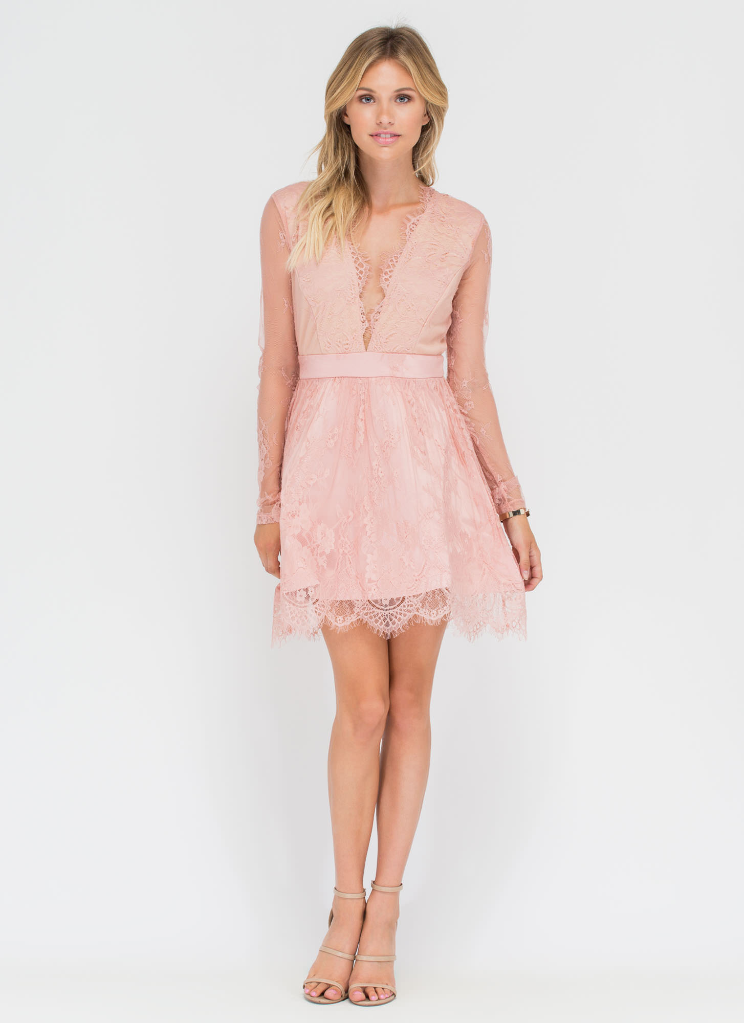 Sheer Bliss Plunging Lace Dress BLUSH