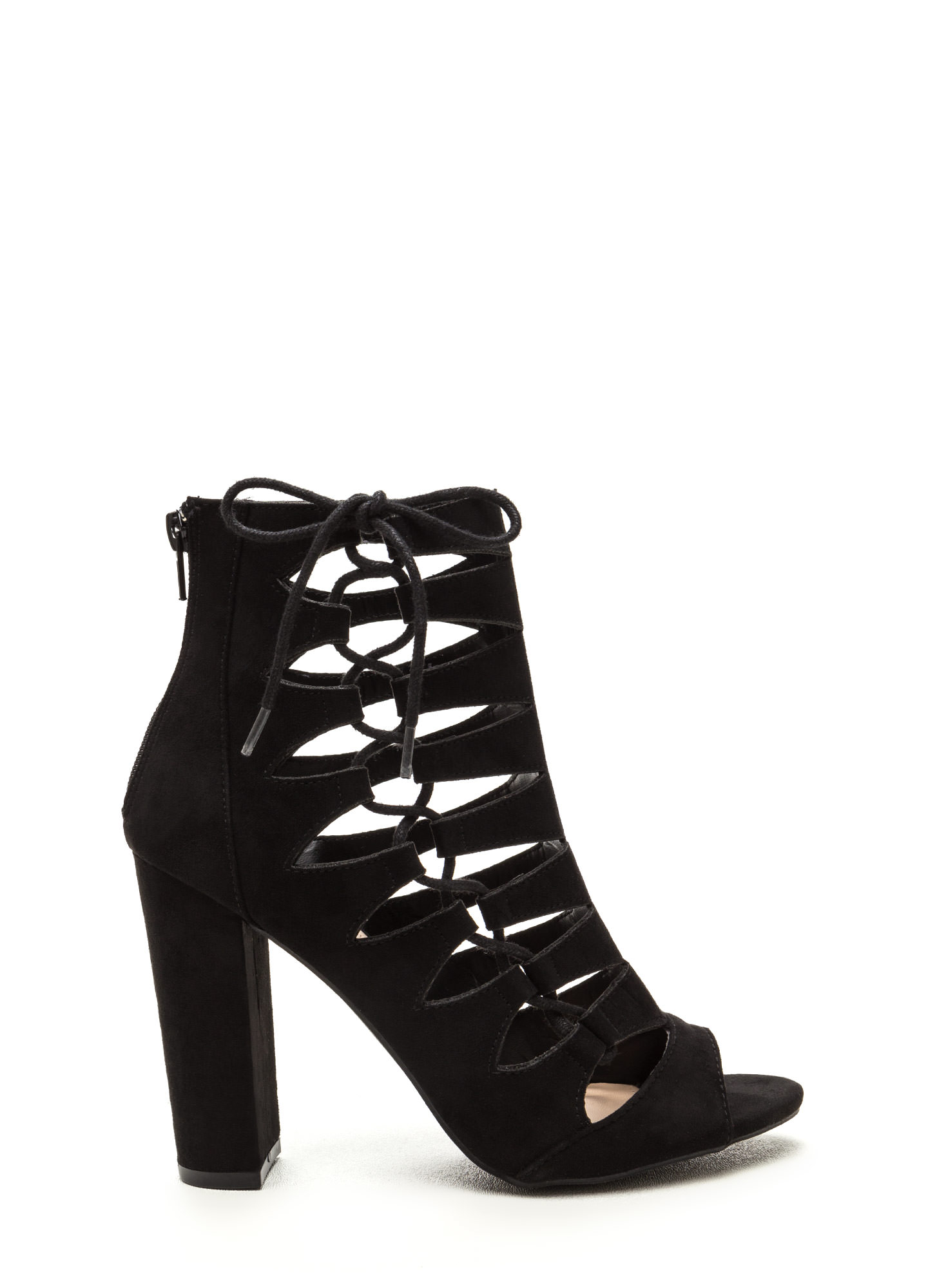 Side Chick Laced-Up Faux Suede Booties BLACK