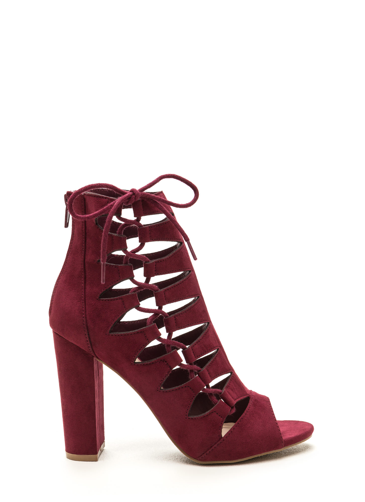 Side Chick Laced-Up Faux Suede Booties BURGUNDY