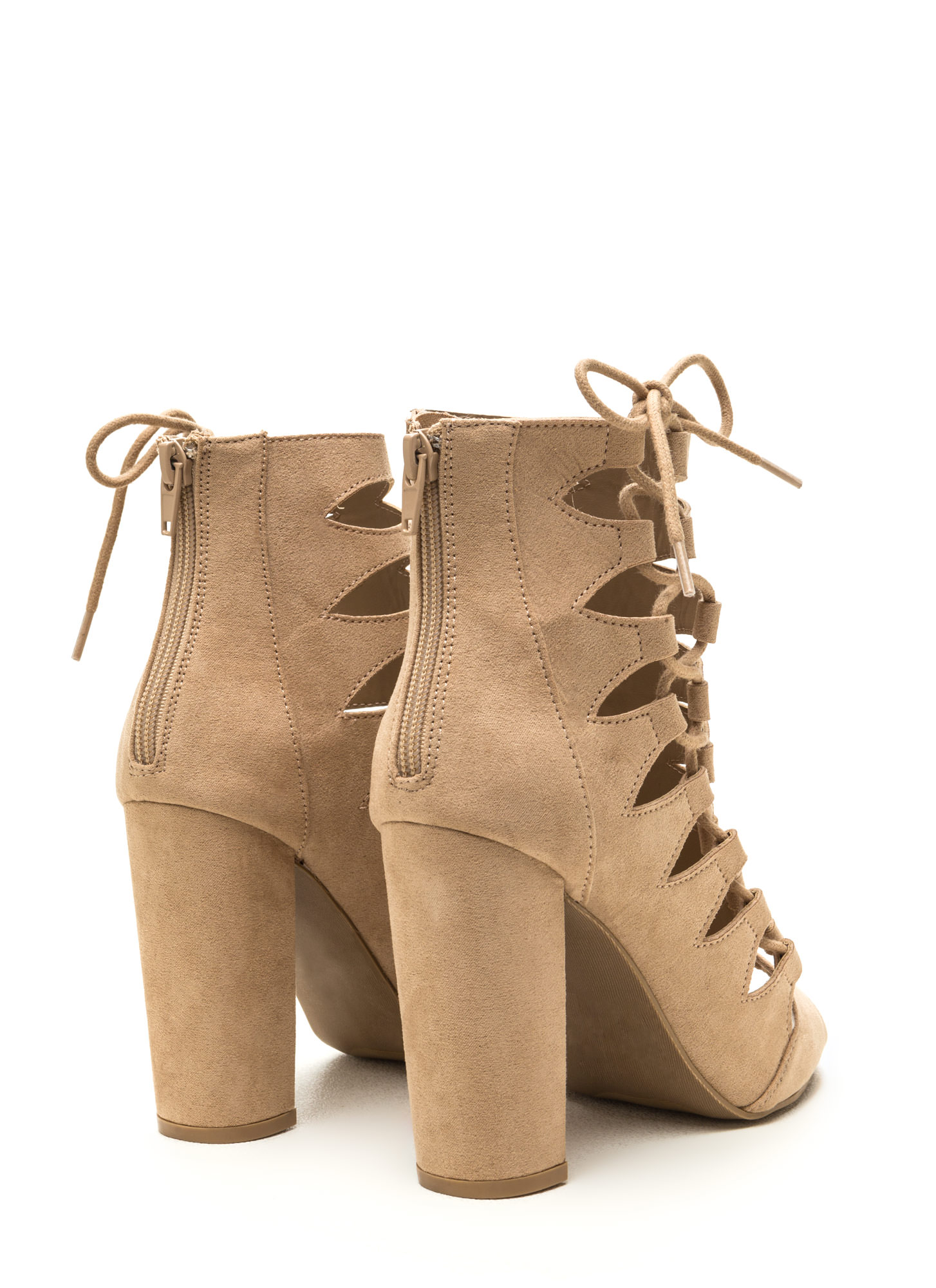Side Chick Laced-Up Faux Suede Booties NATURAL