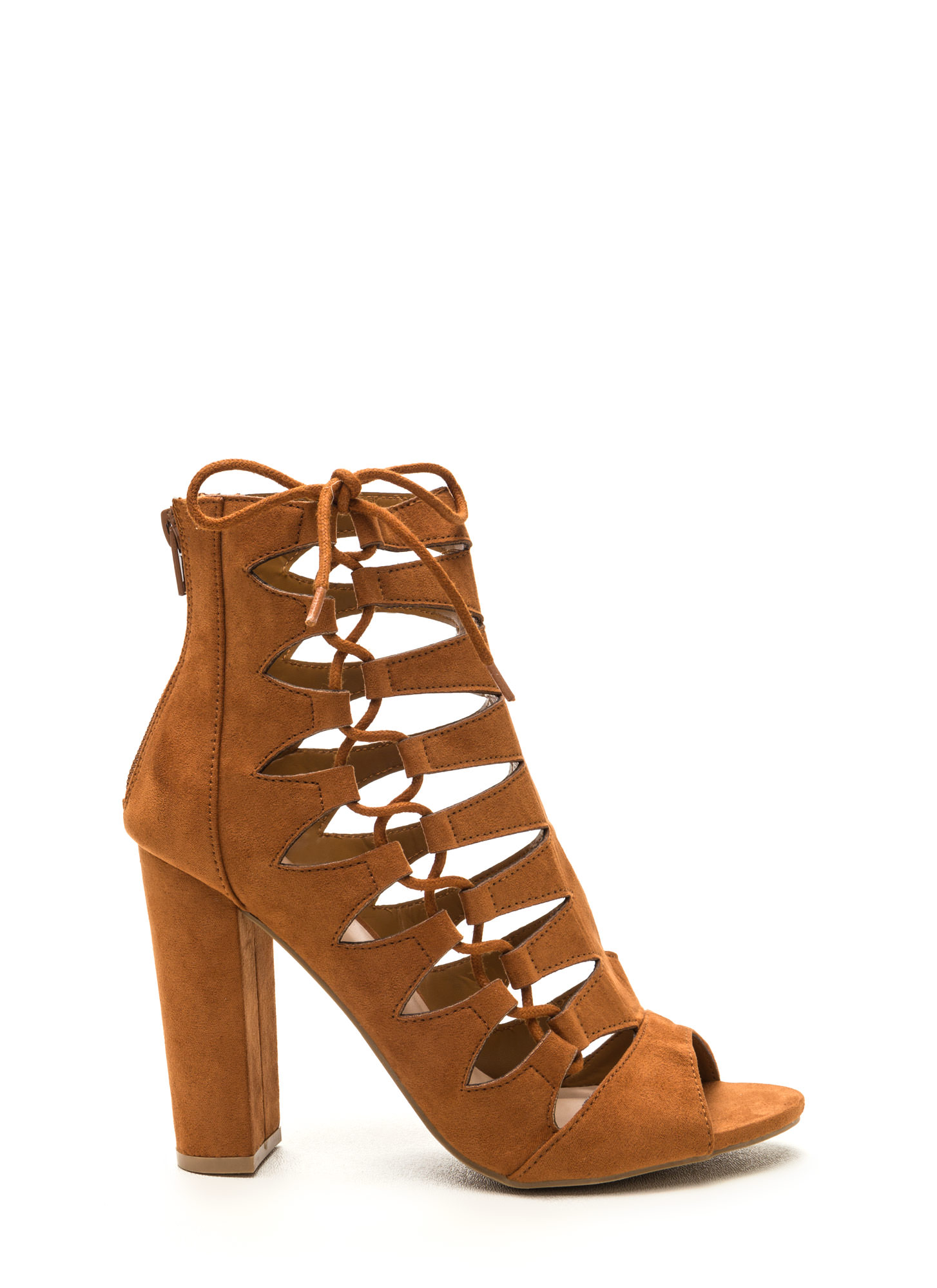 Side Chick Laced-Up Faux Suede Booties WHISKY