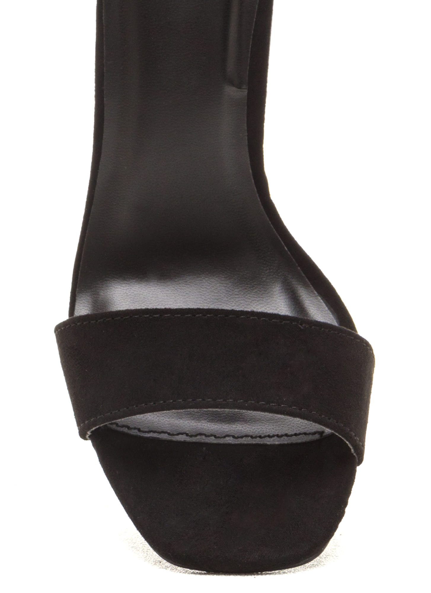 Put A Bow On It Faux Suede Chunky Heels BLACK