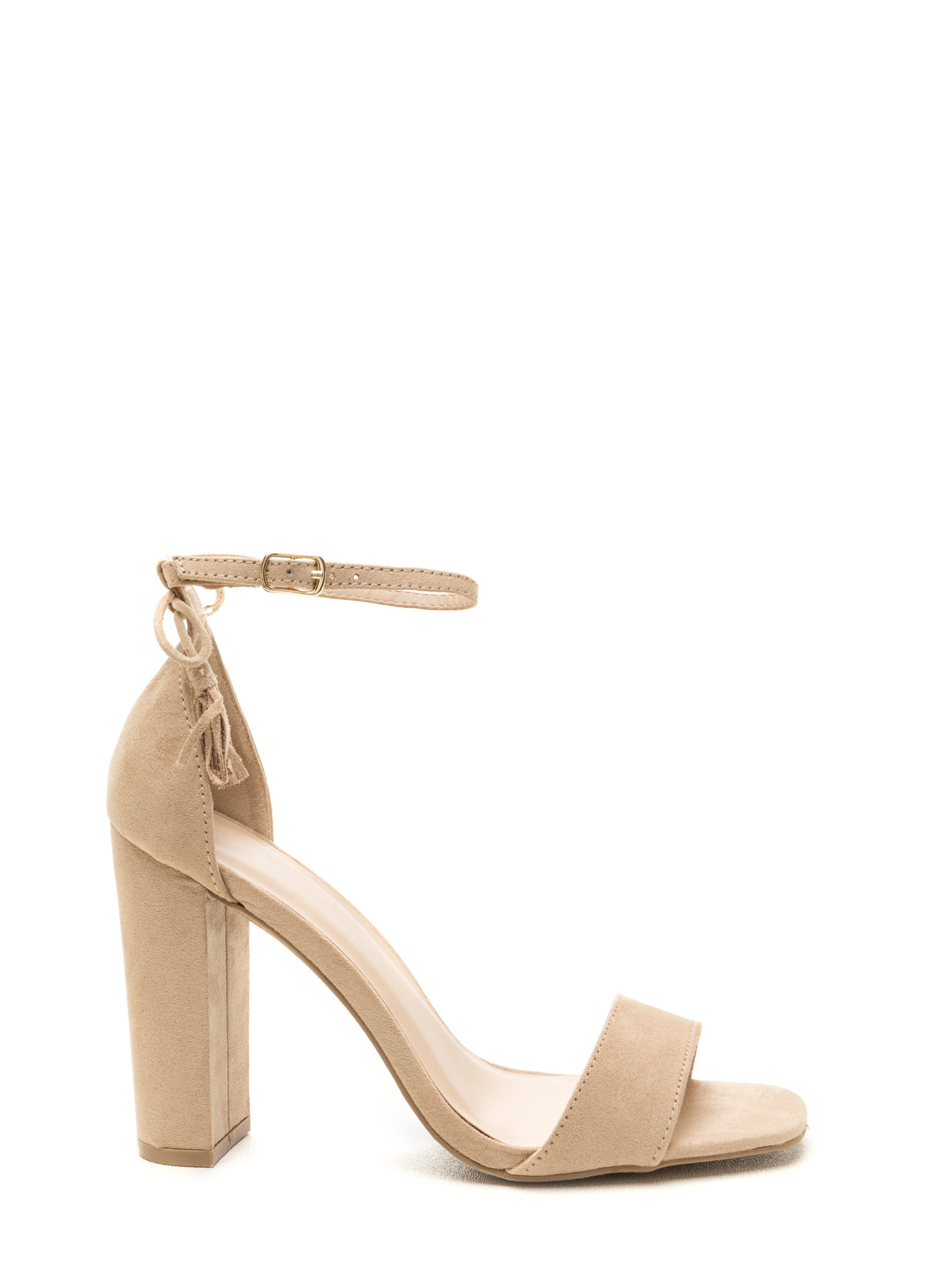 Put A Bow On It Faux Suede Chunky Heels NATURAL