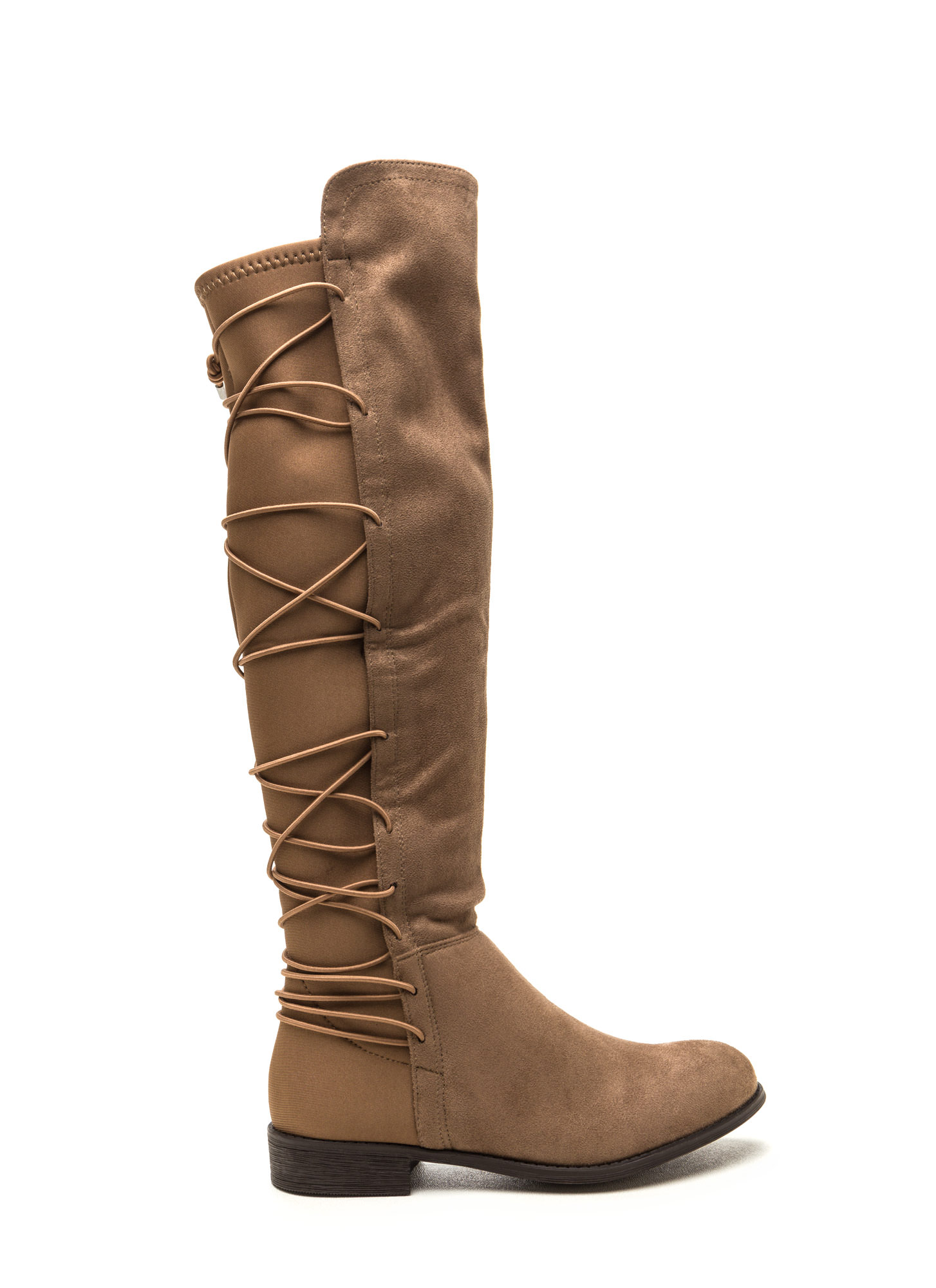 Style Revival Lace-Up Back Boots TAUPE